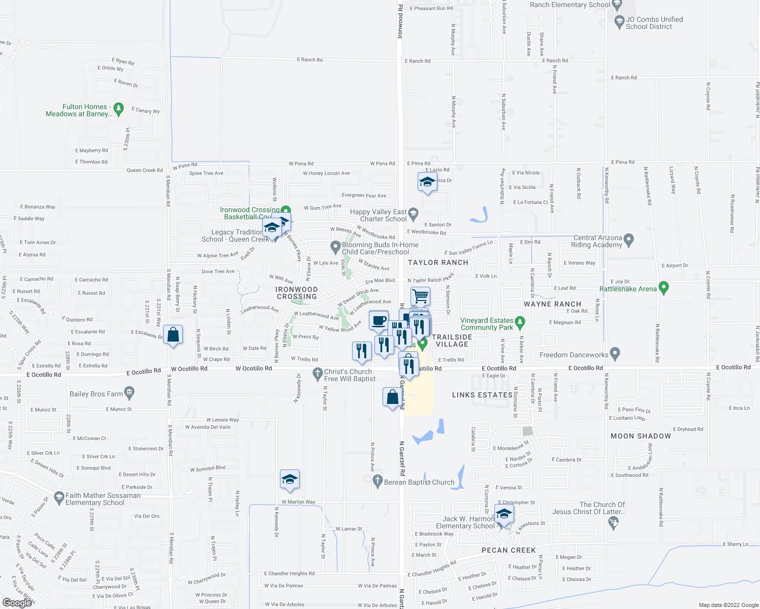 map of restaurants, bars, coffee shops, grocery stores, and more near 175 West Leatherwood Avenue in San Tan Valley