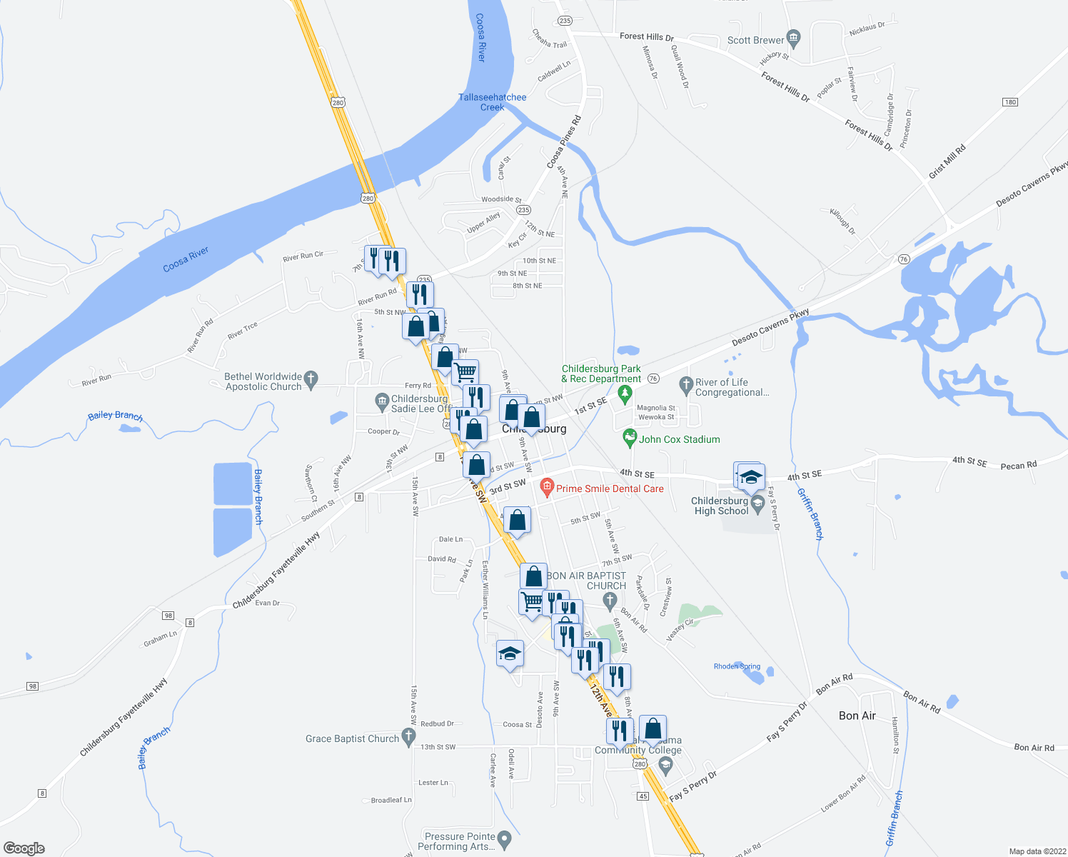 map of restaurants, bars, coffee shops, grocery stores, and more near in Childersburg