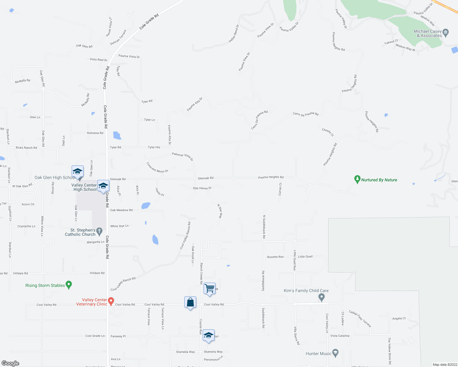 map of restaurants, bars, coffee shops, grocery stores, and more near 30790 Star Haven Drive in Valley Center
