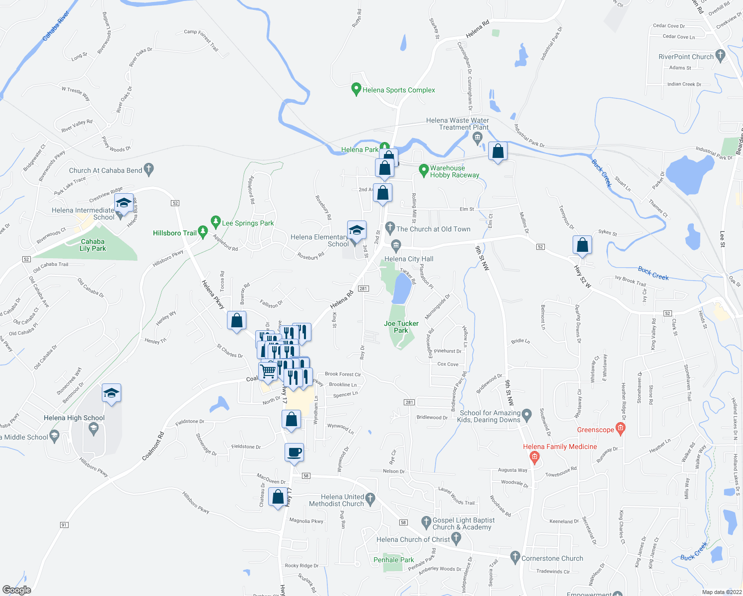map of restaurants, bars, coffee shops, grocery stores, and more near 603 Parkside Circle in Helena