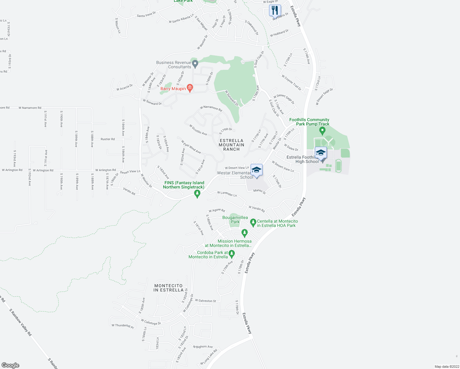map of restaurants, bars, coffee shops, grocery stores, and more near 18428 West Summerhaven Drive in Goodyear