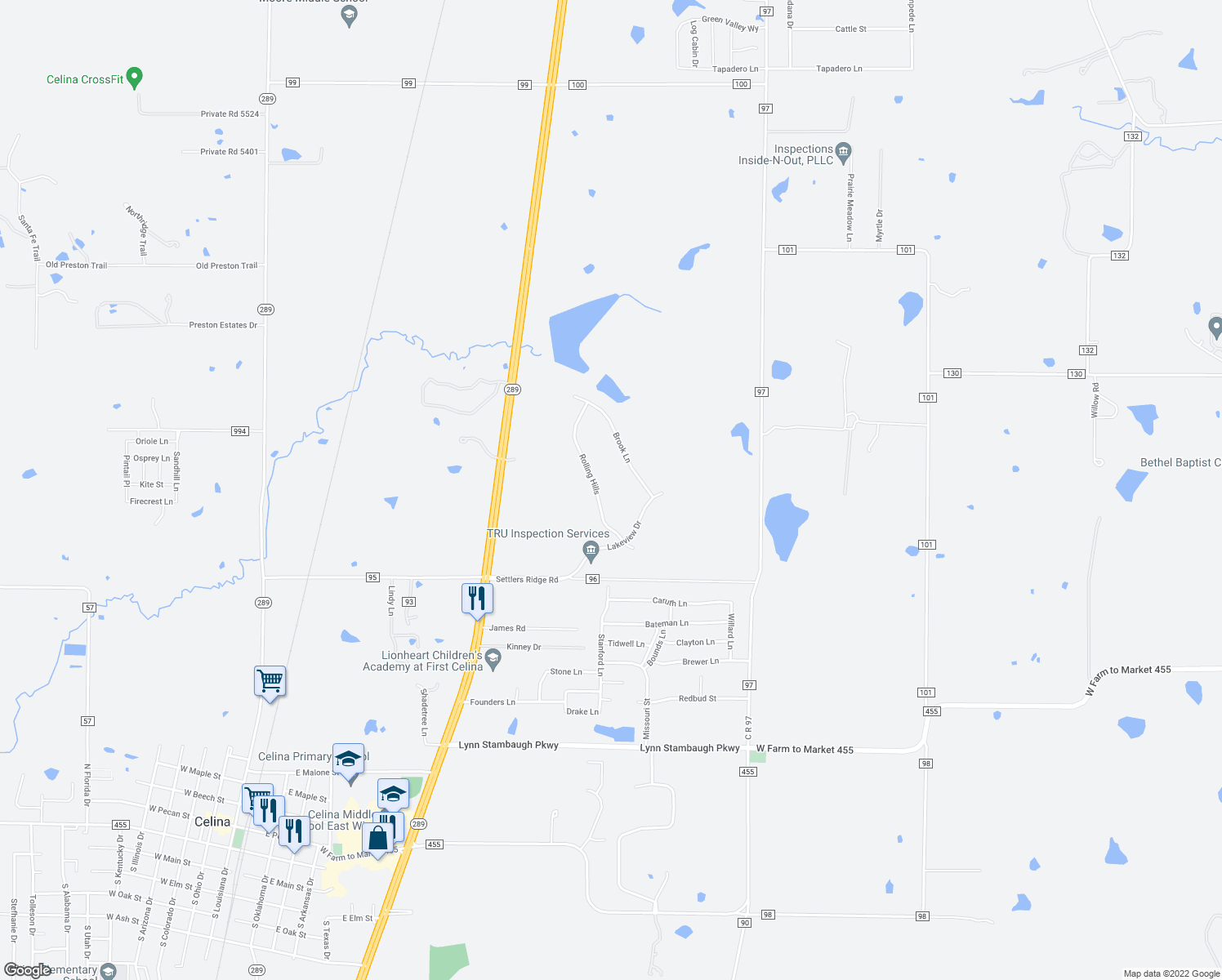 map of restaurants, bars, coffee shops, grocery stores, and more near 1421 Rolling Hills in Celina