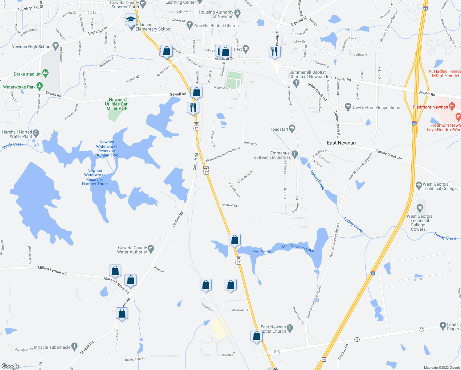 map of restaurants, bars, coffee shops, grocery stores, and more near 30 East Gordon Road in Newnan