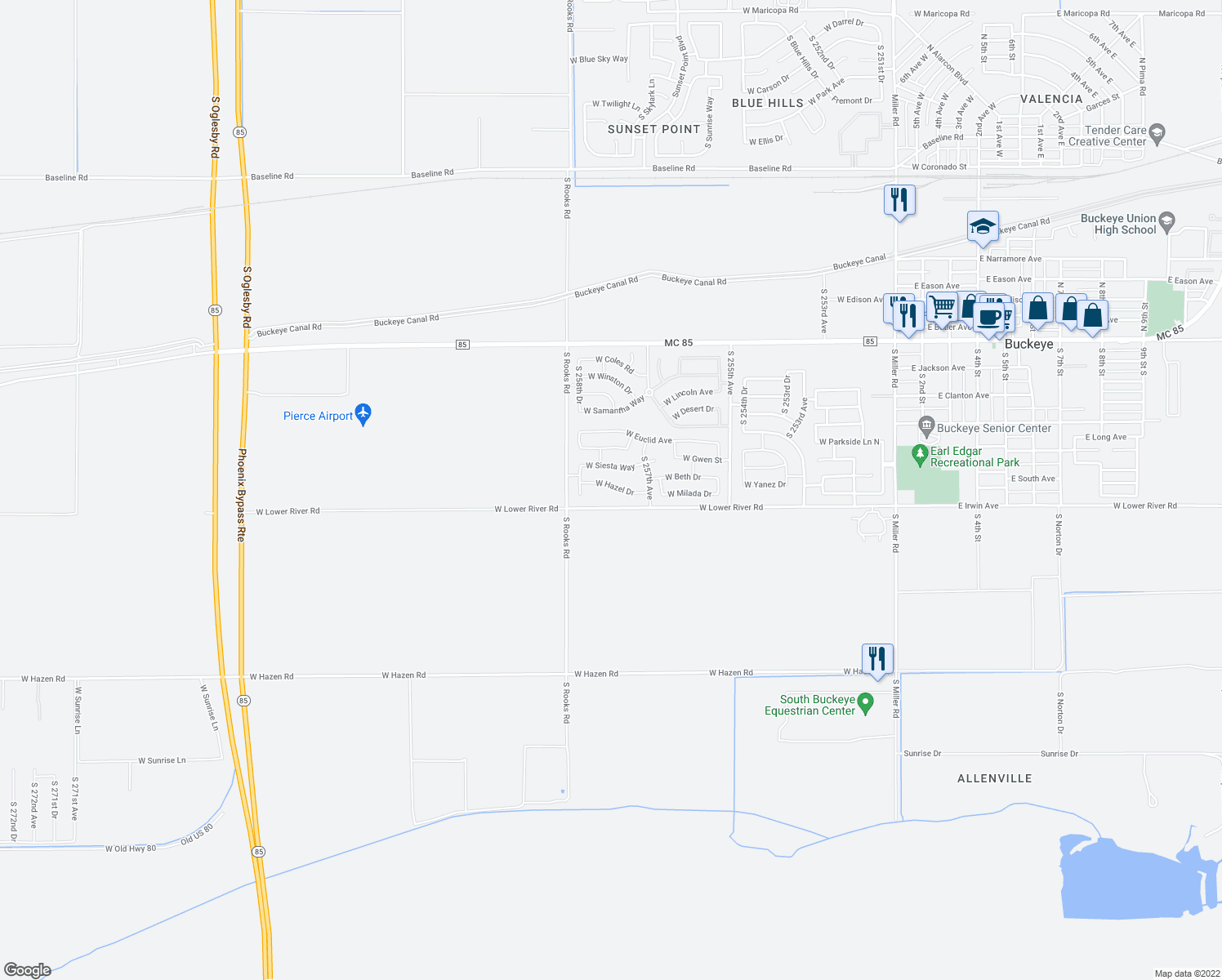 map of restaurants, bars, coffee shops, grocery stores, and more near 25789 West Hazel Drive in Buckeye