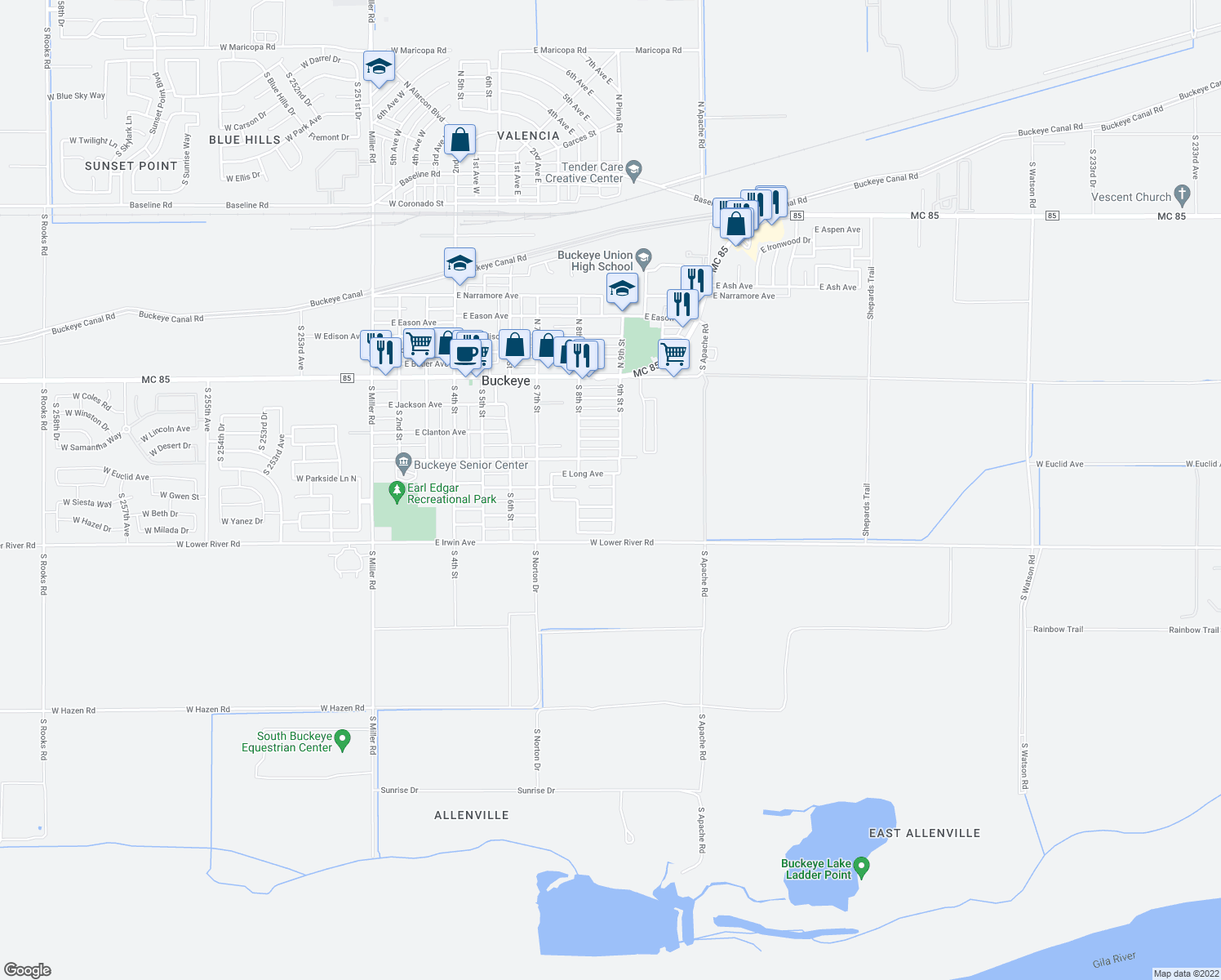 map of restaurants, bars, coffee shops, grocery stores, and more near 406 9th Street South in Buckeye
