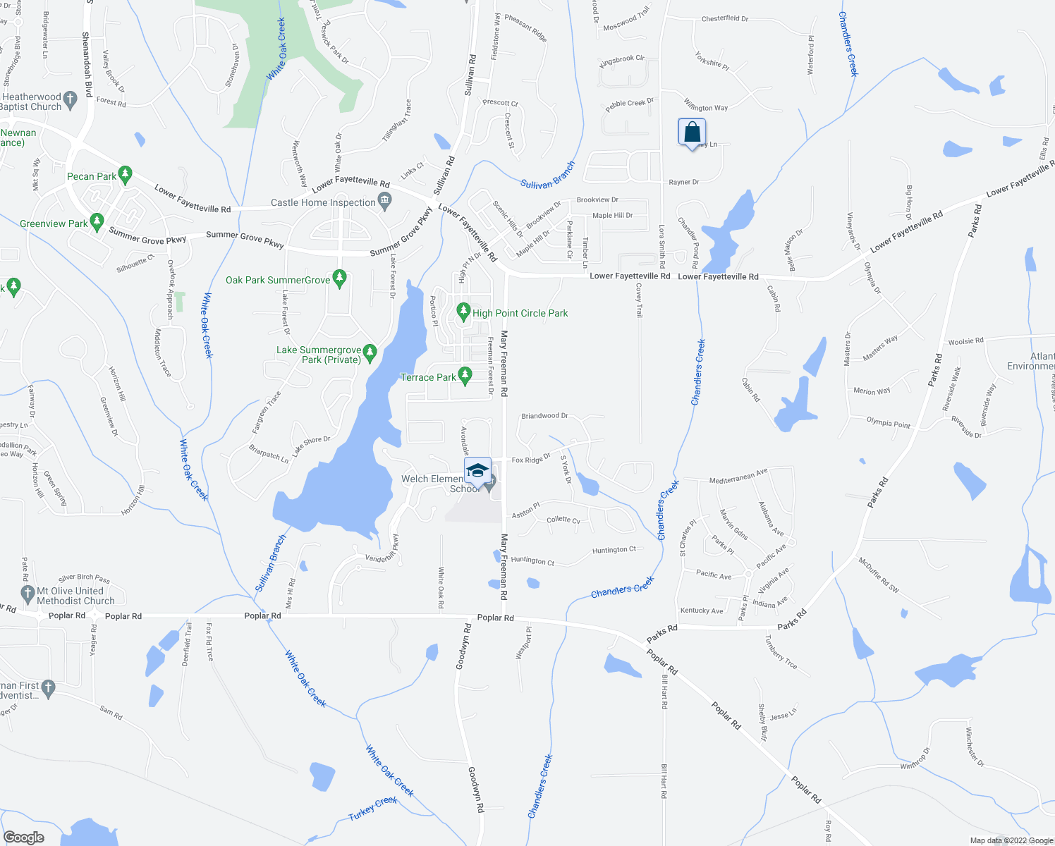 map of restaurants, bars, coffee shops, grocery stores, and more near 19 Briandwood Drive in Newnan