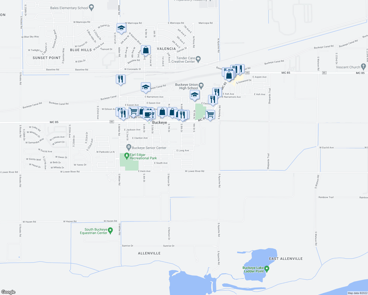 map of restaurants, bars, coffee shops, grocery stores, and more near 803 East Centre Avenue in Buckeye