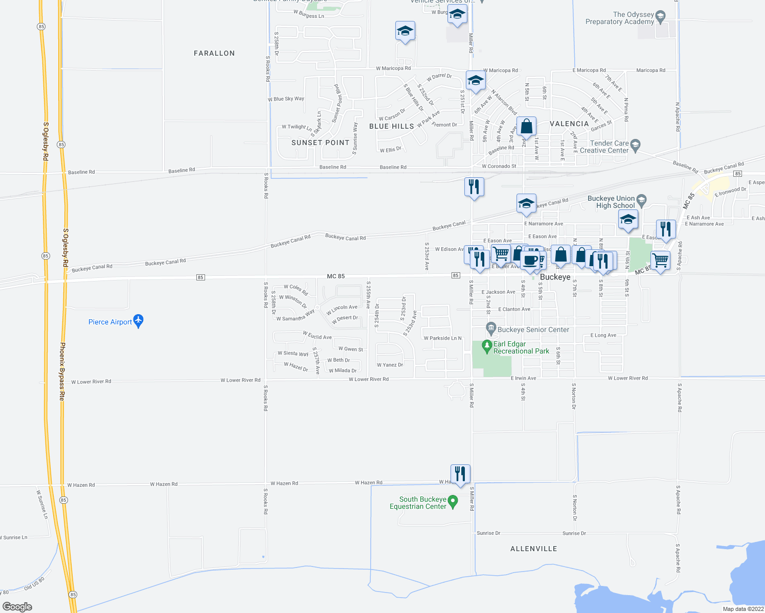 map of restaurants, bars, coffee shops, grocery stores, and more near 25446 West Lincoln Avenue in Buckeye