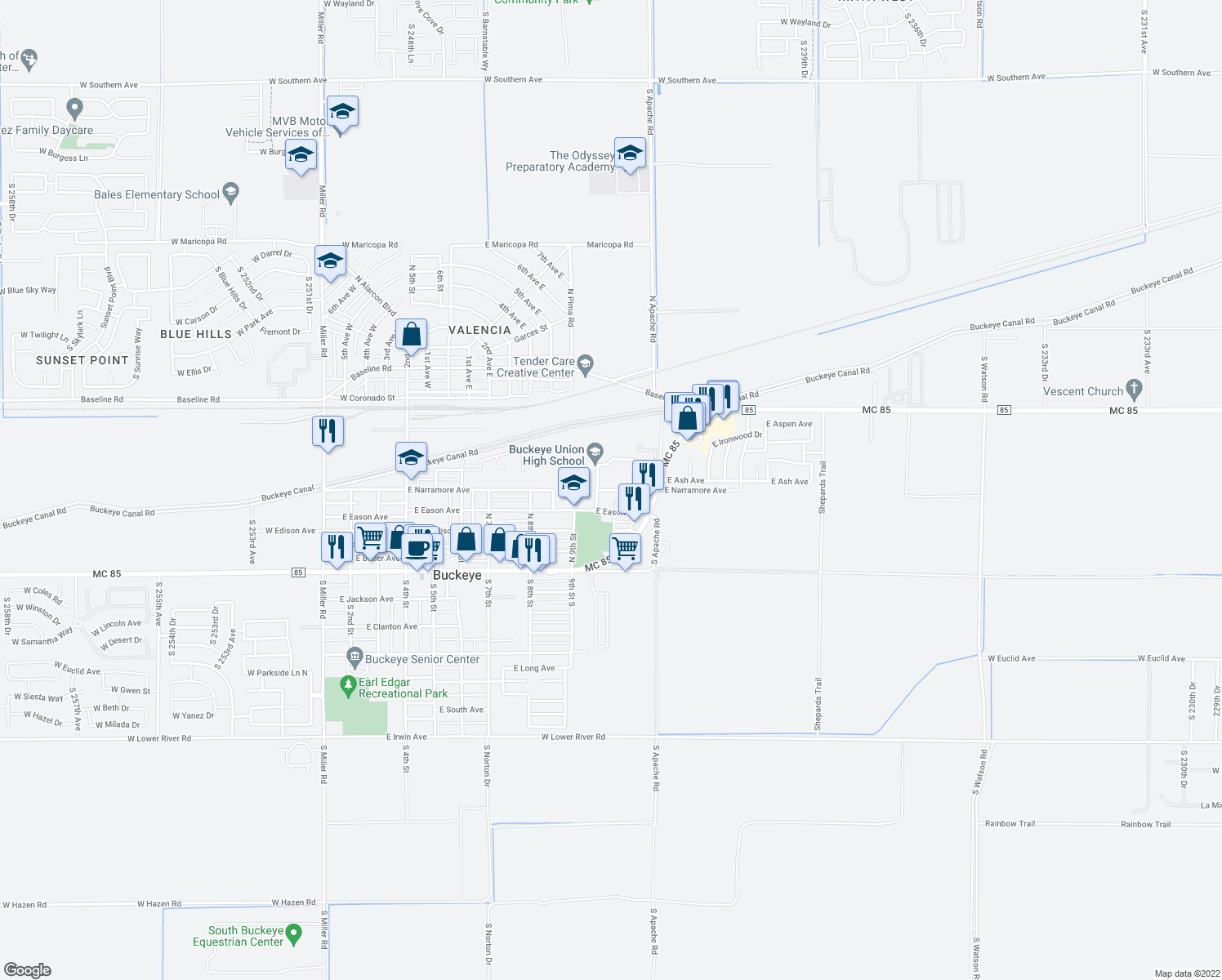map of restaurants, bars, coffee shops, grocery stores, and more near 1012 East Eason Avenue in Buckeye