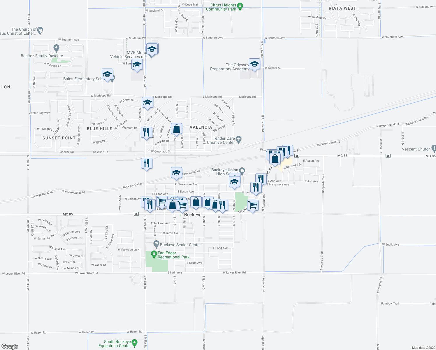 map of restaurants, bars, coffee shops, grocery stores, and more near 551 North Rubel Court in Buckeye