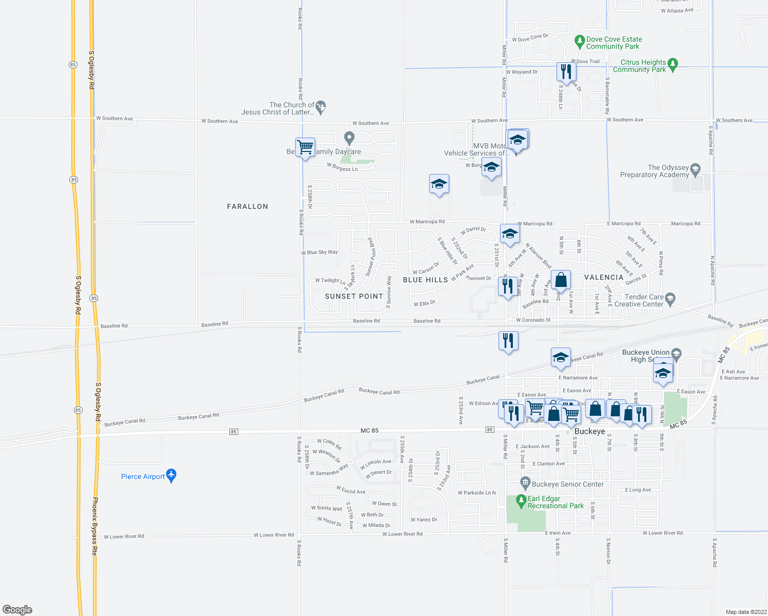 map of restaurants, bars, coffee shops, grocery stores, and more near 7504 South Sunrise Way in Buckeye