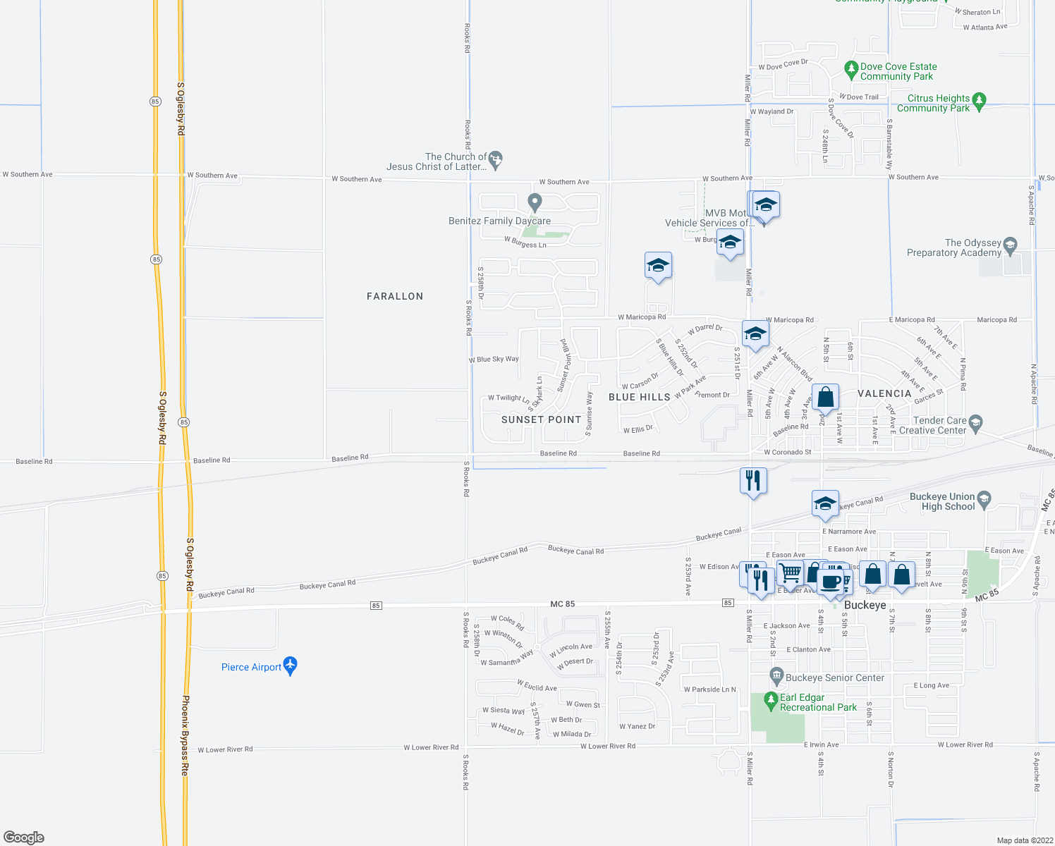 map of restaurants, bars, coffee shops, grocery stores, and more near 7403 South Skylark Lane in Buckeye