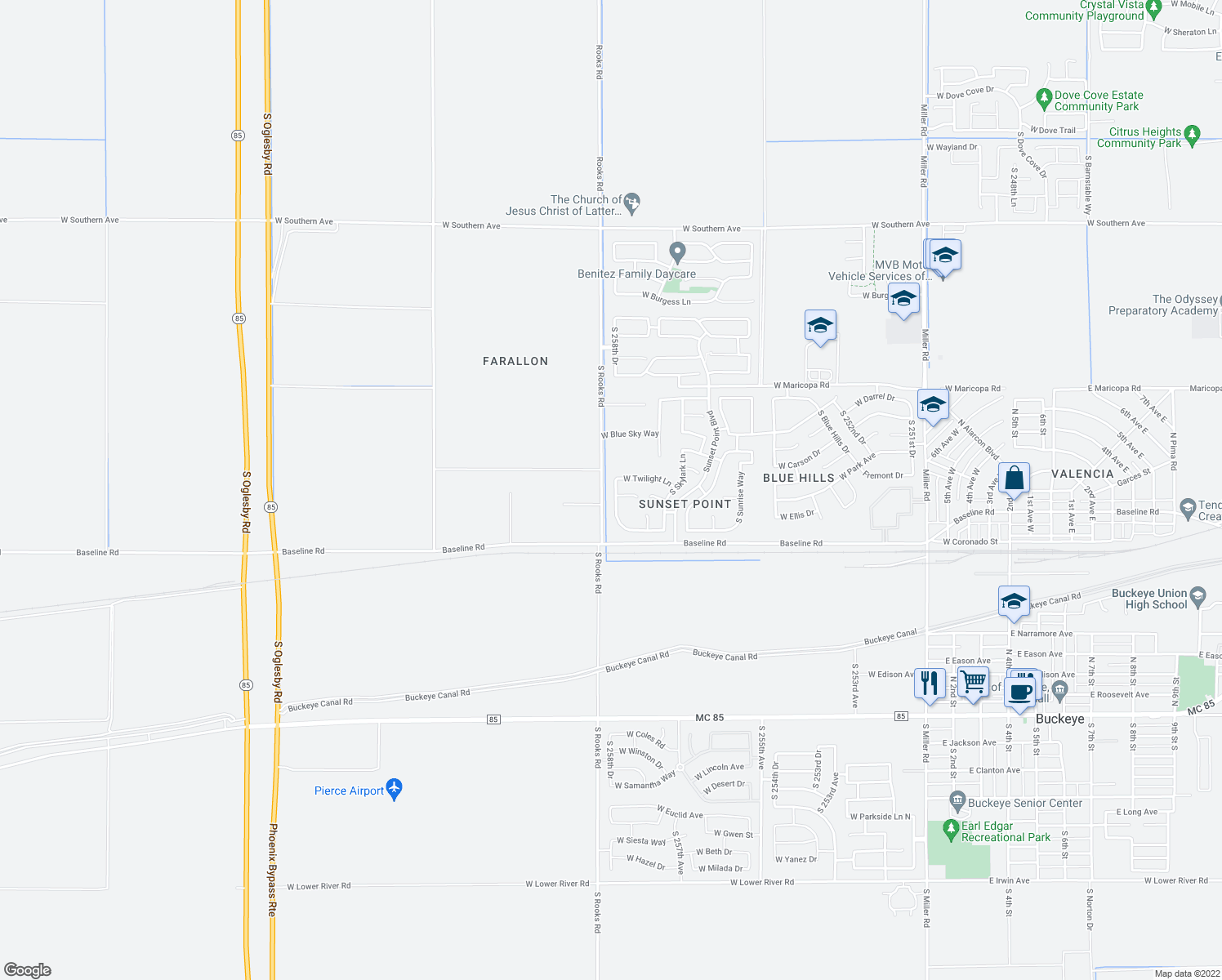 map of restaurants, bars, coffee shops, grocery stores, and more near 7304 South Sunset Way in Buckeye