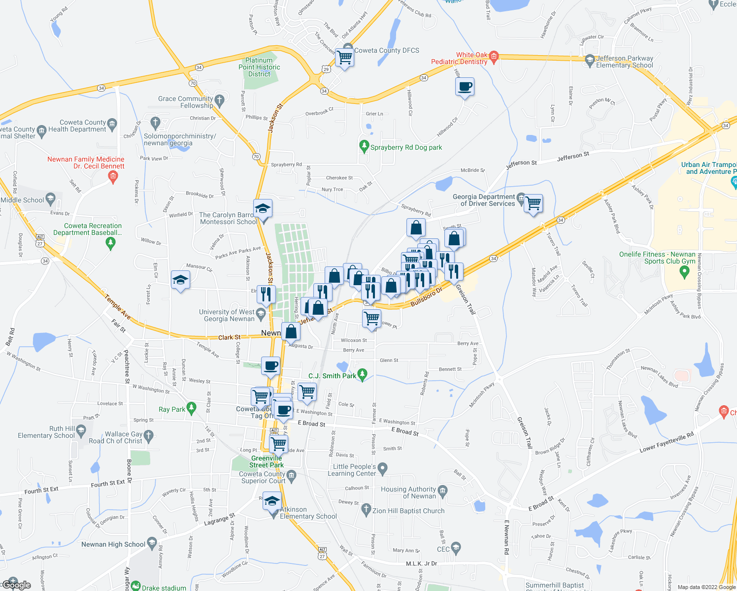 map of restaurants, bars, coffee shops, grocery stores, and more near 236-264 Jefferson Street in Newnan