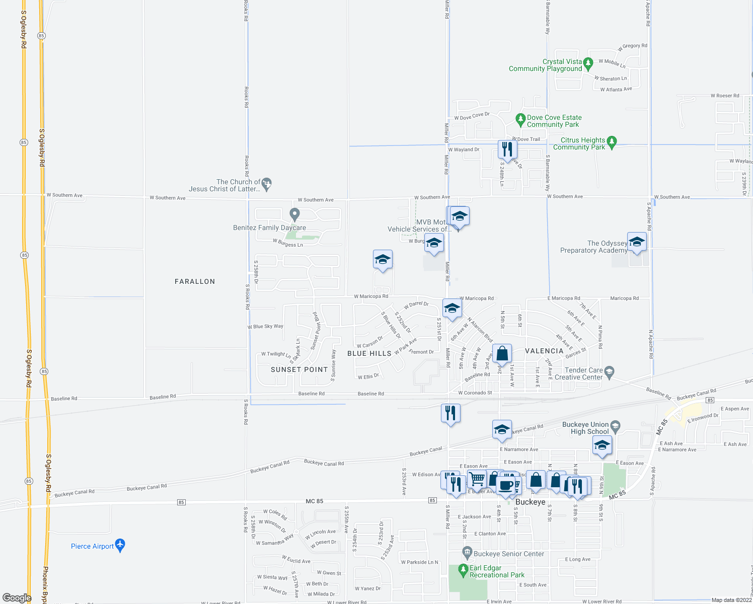 map of restaurants, bars, coffee shops, grocery stores, and more near 25368 West Darrel Drive in Buckeye