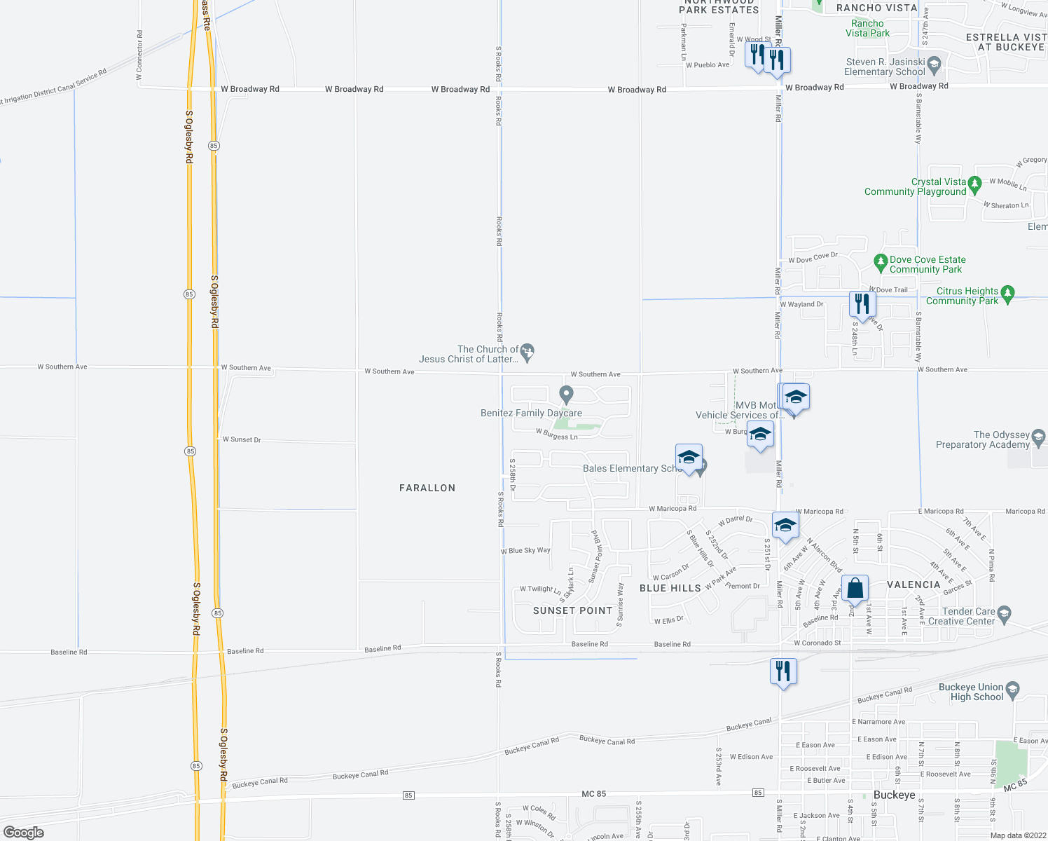map of restaurants, bars, coffee shops, grocery stores, and more near 25830 West Nancy Lane in Buckeye