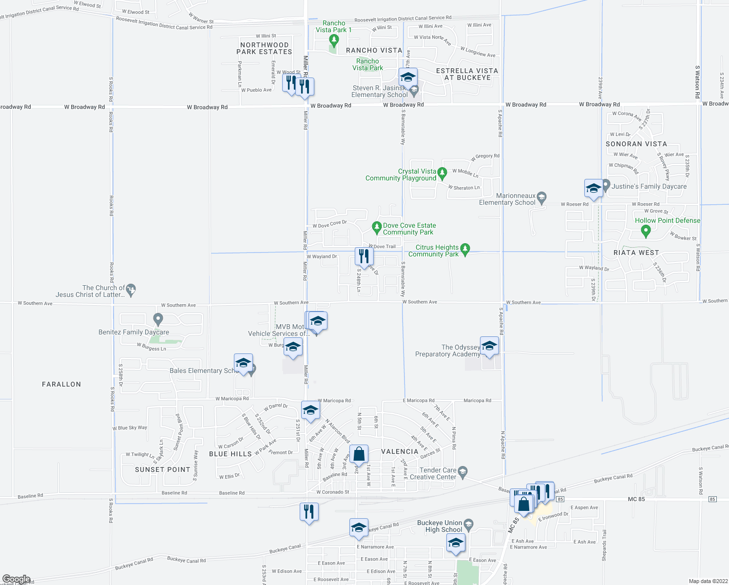 map of restaurants, bars, coffee shops, grocery stores, and more near 24847 West Huntington Drive in Buckeye