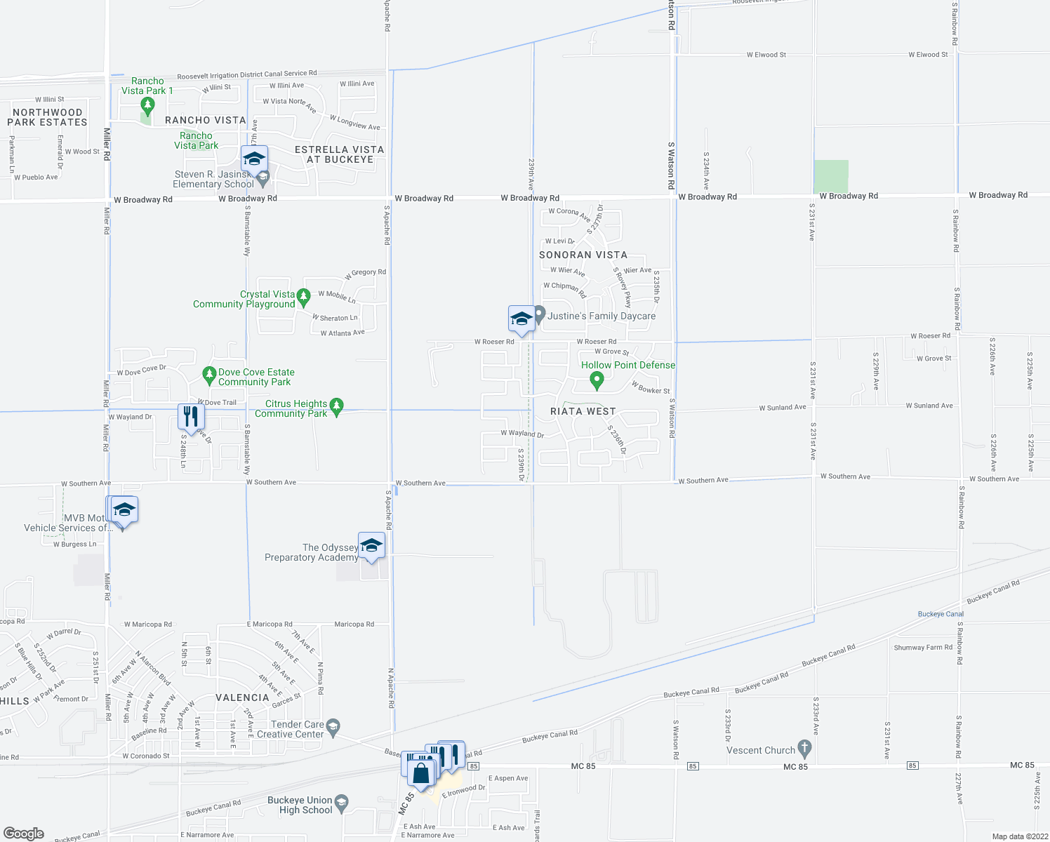 map of restaurants, bars, coffee shops, grocery stores, and more near 5659 South 239th Drive in Buckeye
