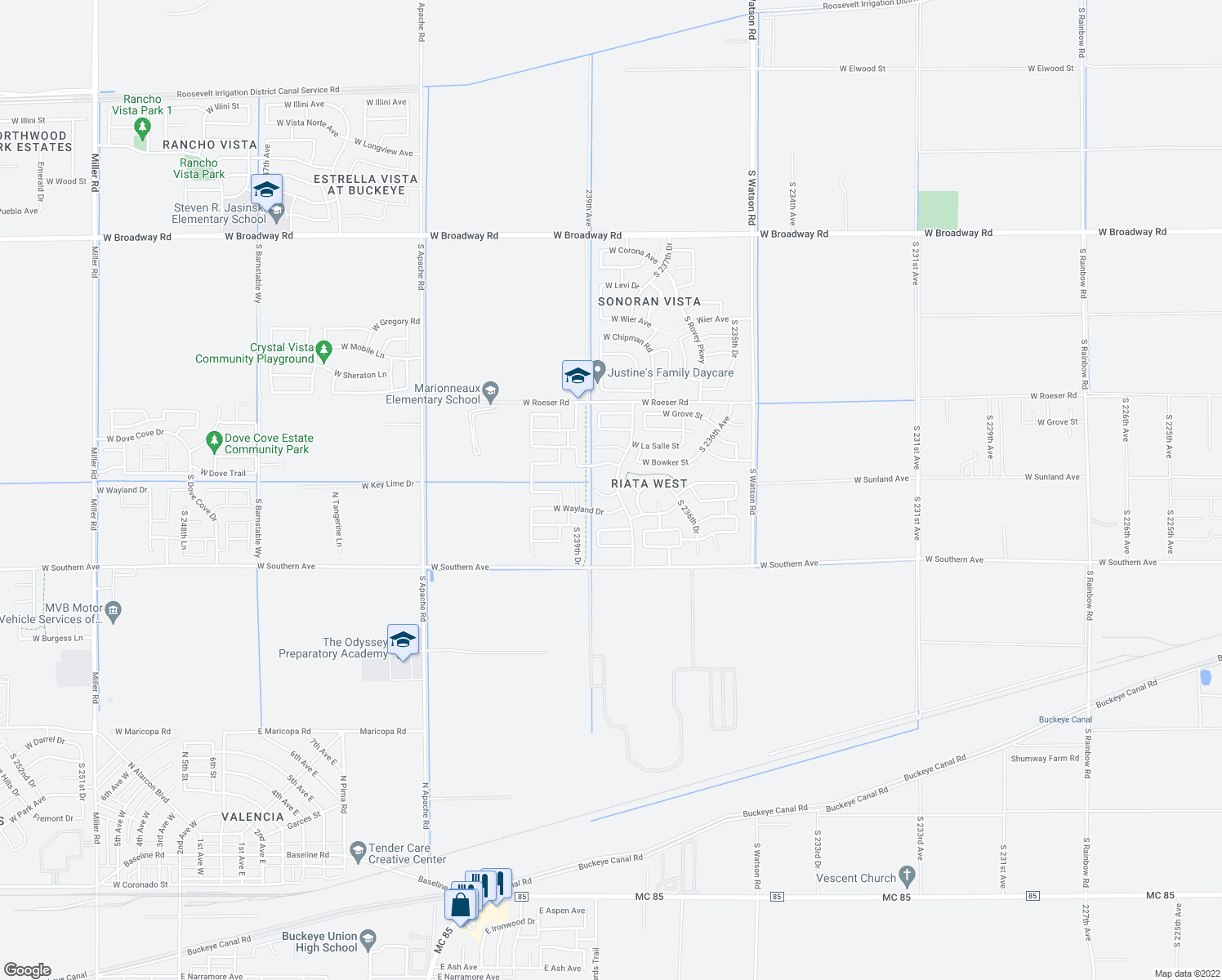 map of restaurants, bars, coffee shops, grocery stores, and more near 23832 West Pecan Circle in Buckeye