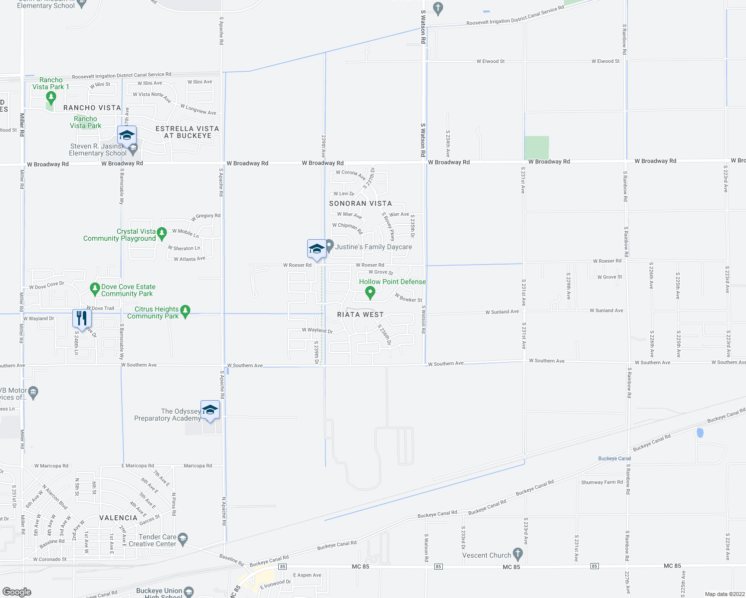 map of restaurants, bars, coffee shops, grocery stores, and more near 23706 West Bowker Street in Buckeye