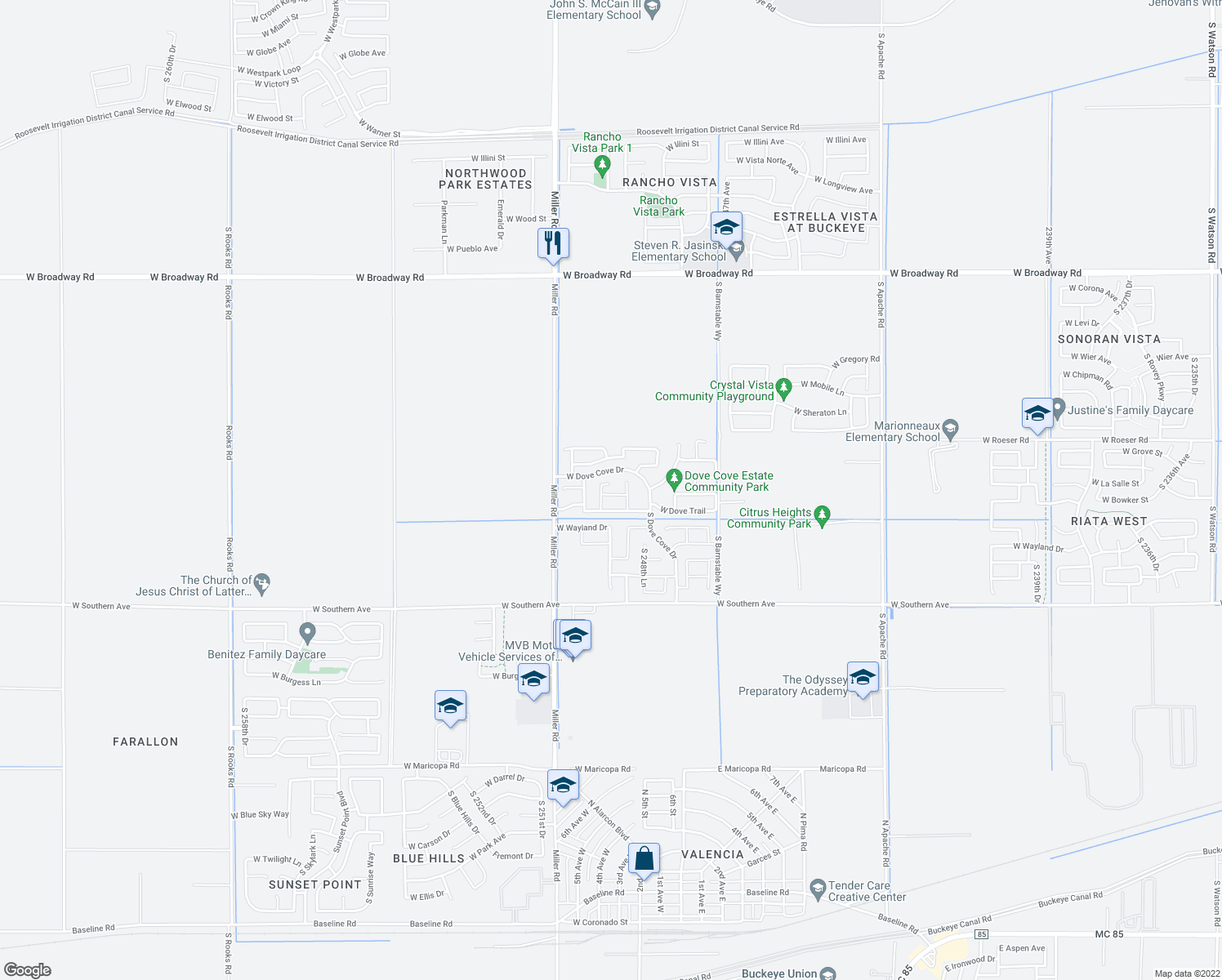 map of restaurants, bars, coffee shops, grocery stores, and more near 25000 West Dove Ridge in Buckeye
