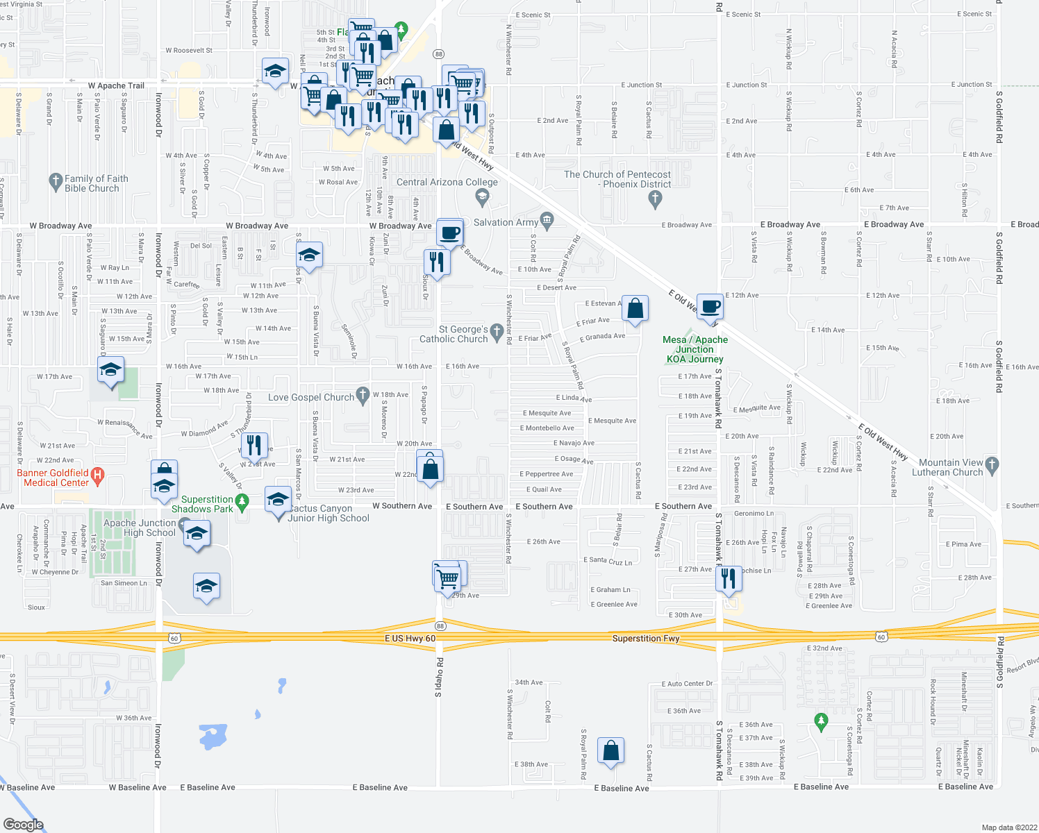 map of restaurants, bars, coffee shops, grocery stores, and more near 427 East Mesquite Avenue in Apache Junction