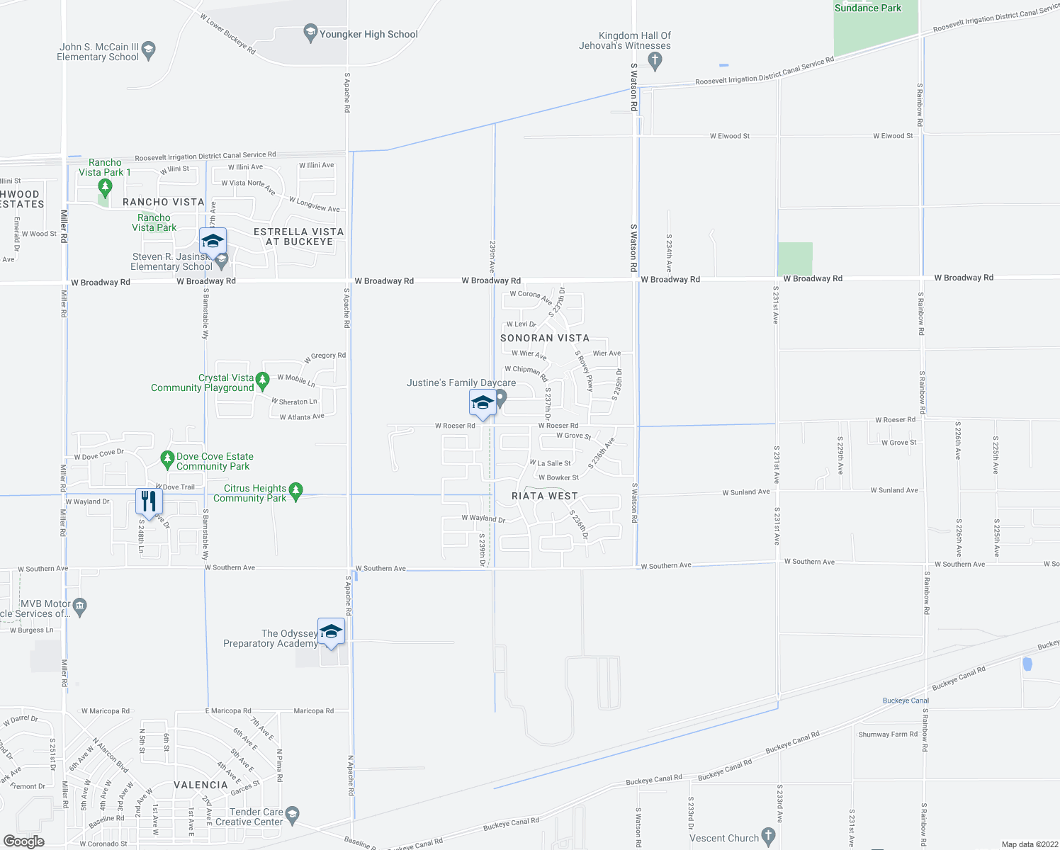 map of restaurants, bars, coffee shops, grocery stores, and more near Roeser Rd in Buckeye