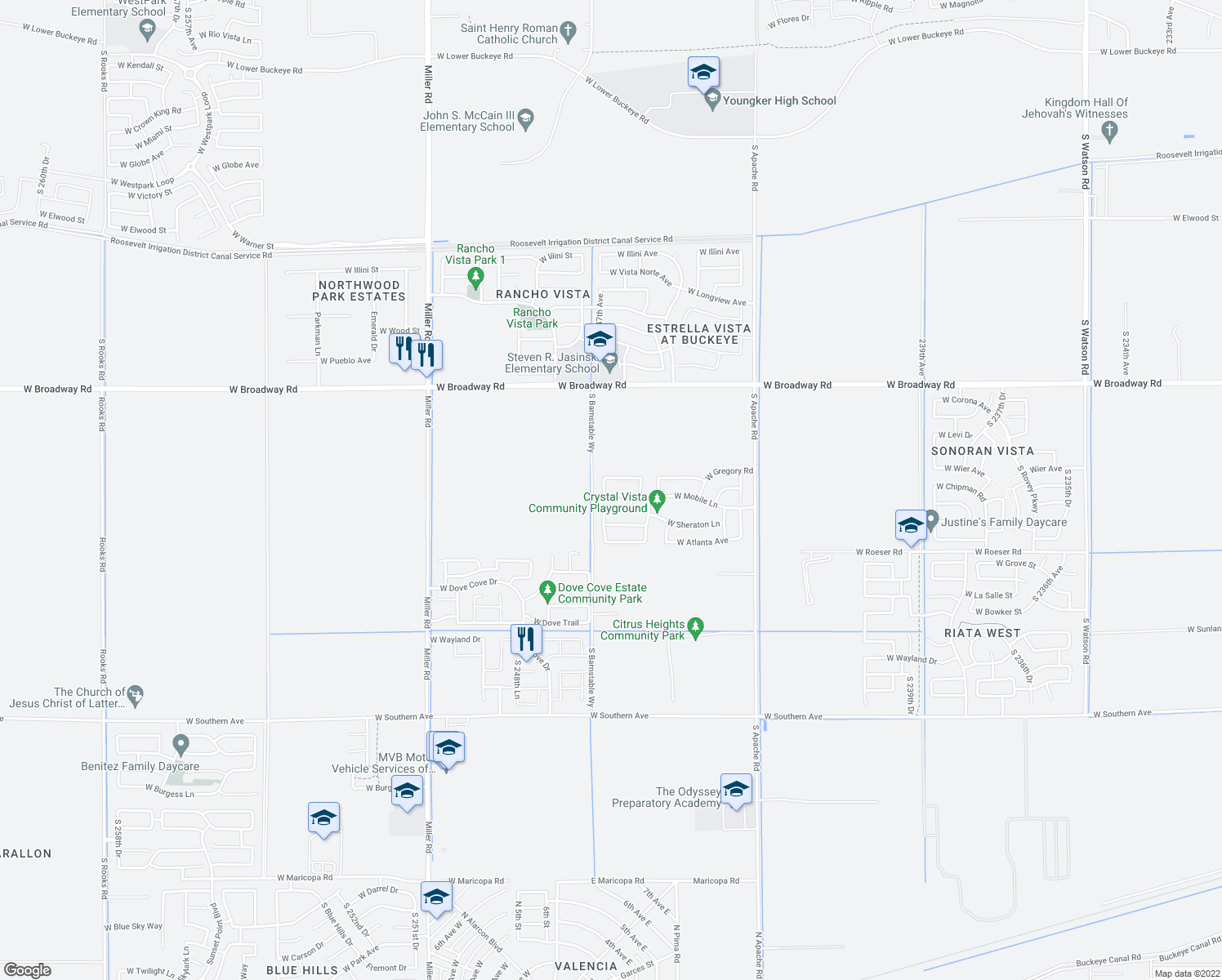 map of restaurants, bars, coffee shops, grocery stores, and more near 24656 West Mobile Lane in Buckeye