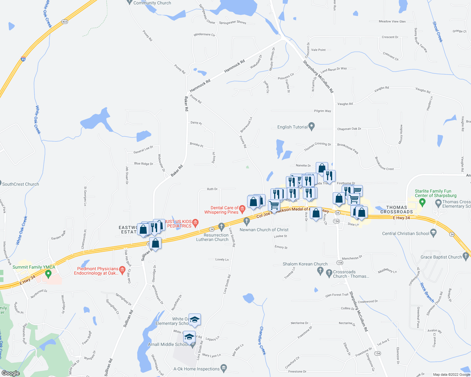 map of restaurants, bars, coffee shops, grocery stores, and more near 399 Ruth Drive in Newnan