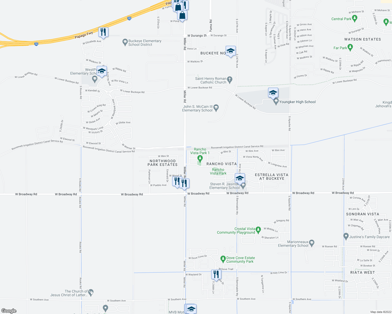 map of restaurants, bars, coffee shops, grocery stores, and more near 25012 West Vista Norte Street in Buckeye