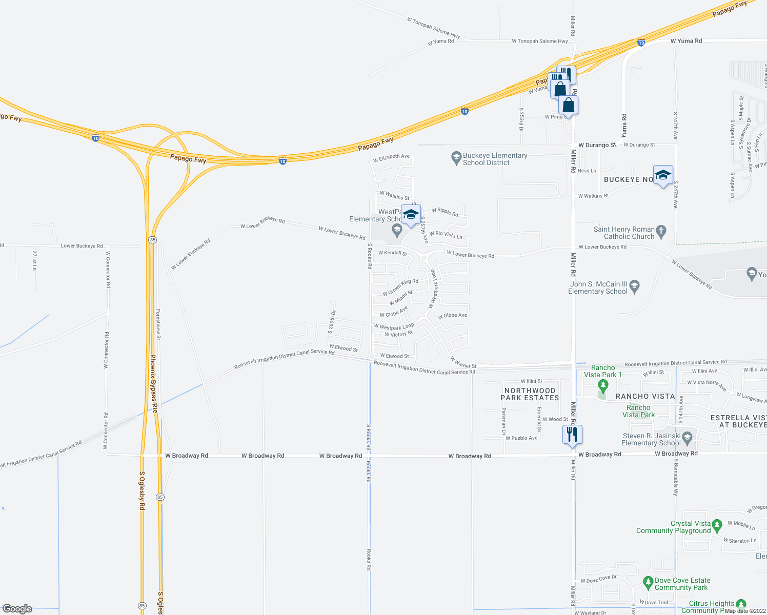 map of restaurants, bars, coffee shops, grocery stores, and more near 25841 West Miami Street in Buckeye