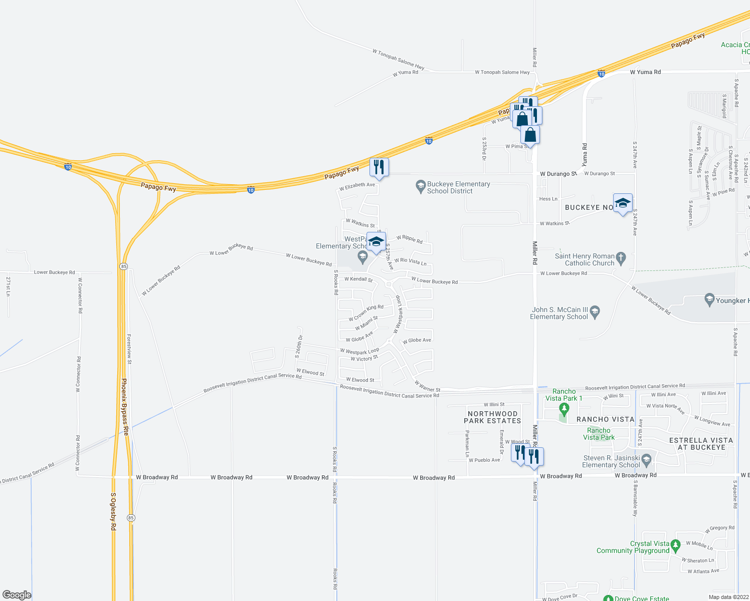 map of restaurants, bars, coffee shops, grocery stores, and more near 25759 West Crown King Road in Buckeye
