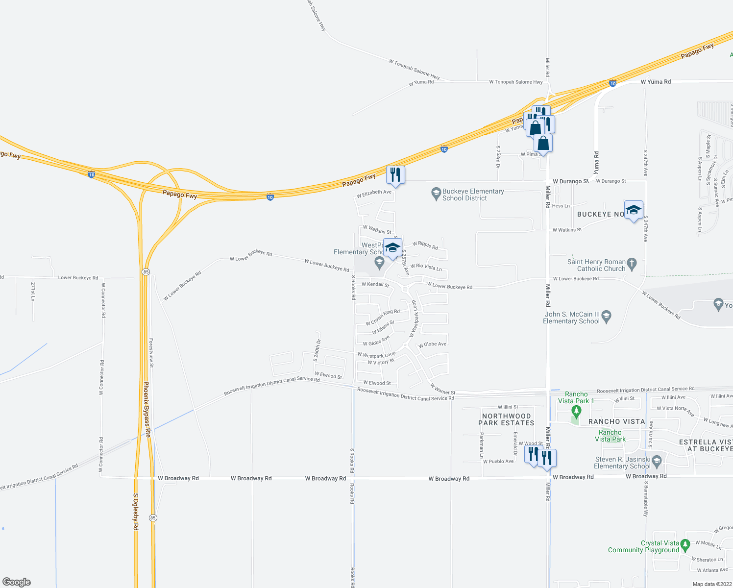 map of restaurants, bars, coffee shops, grocery stores, and more near 25824 West Winslow Avenue in Buckeye