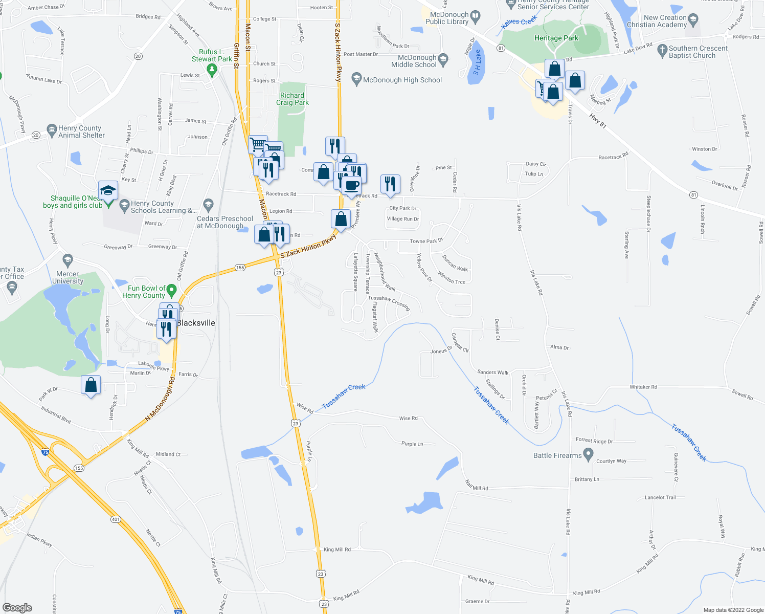 map of restaurants, bars, coffee shops, grocery stores, and more near 4035 Mission Way in McDonough