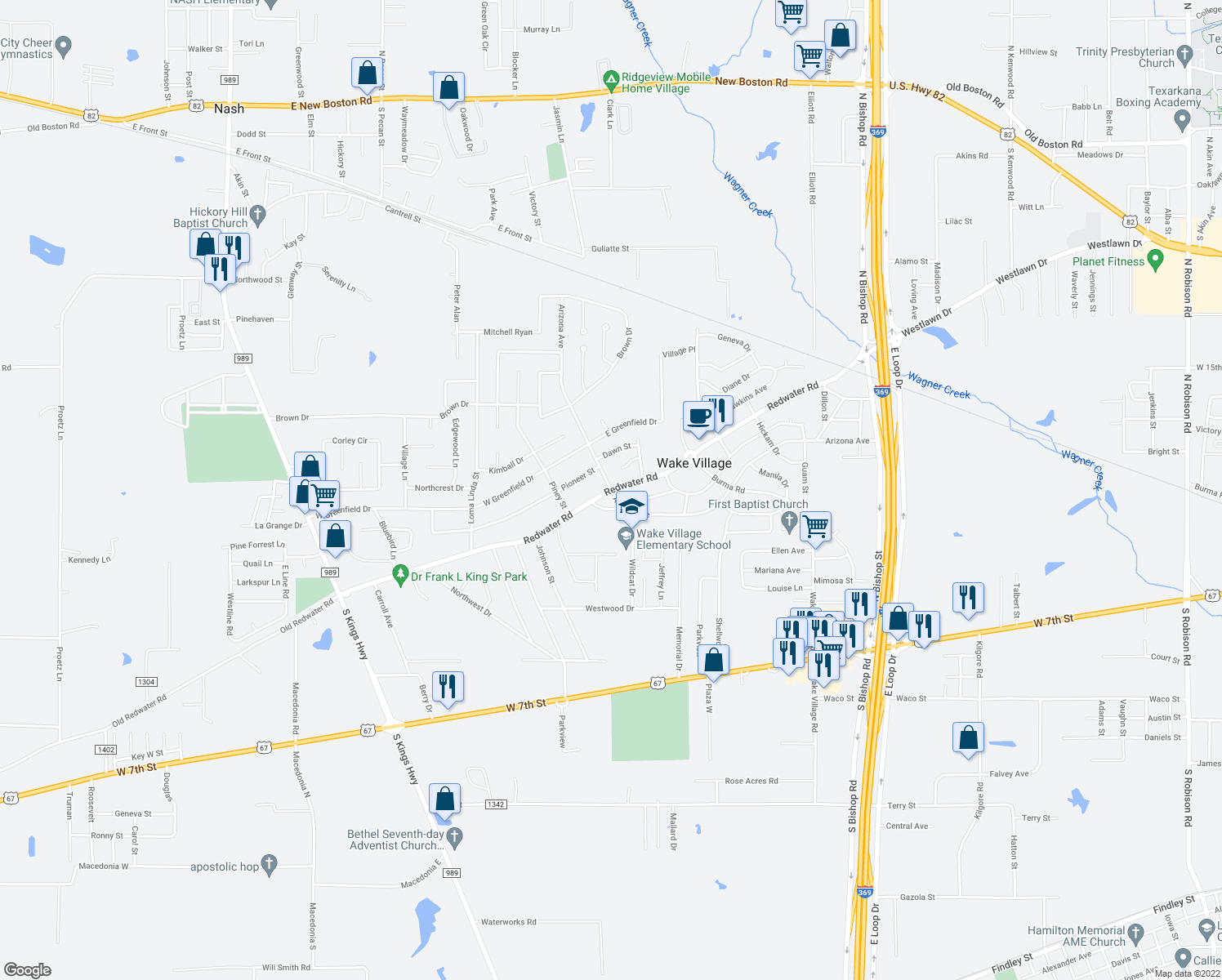 map of restaurants, bars, coffee shops, grocery stores, and more near Redwater Road in Wake Village