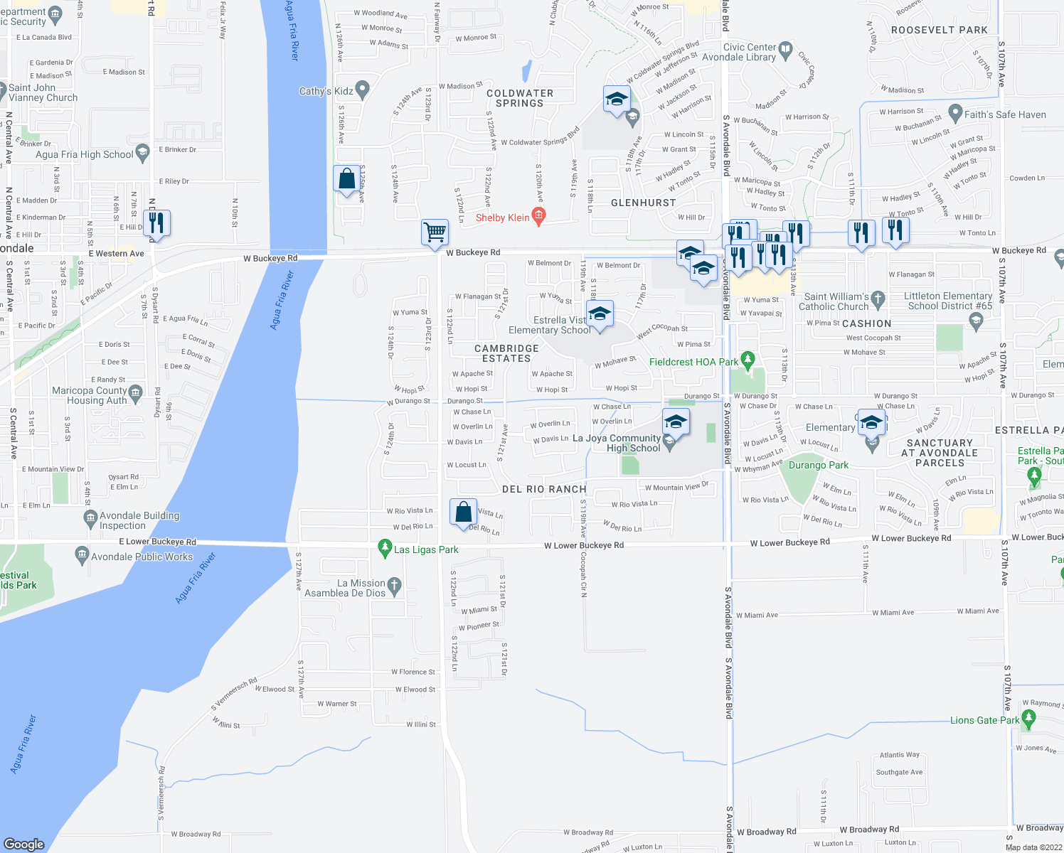 map of restaurants, bars, coffee shops, grocery stores, and more near 12021 West Overlin Lane in Avondale