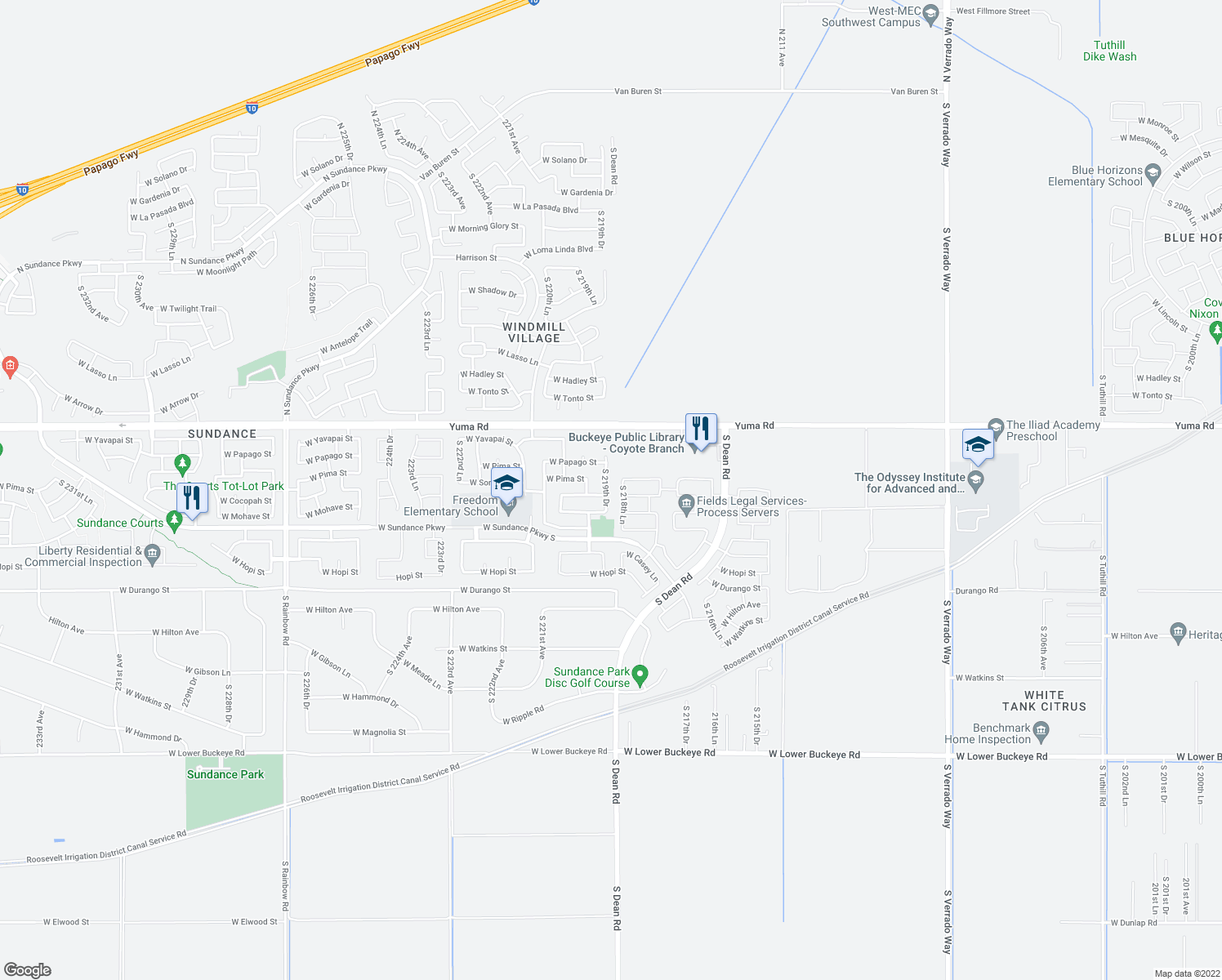 map of restaurants, bars, coffee shops, grocery stores, and more near 1442 South 219th Drive in Buckeye
