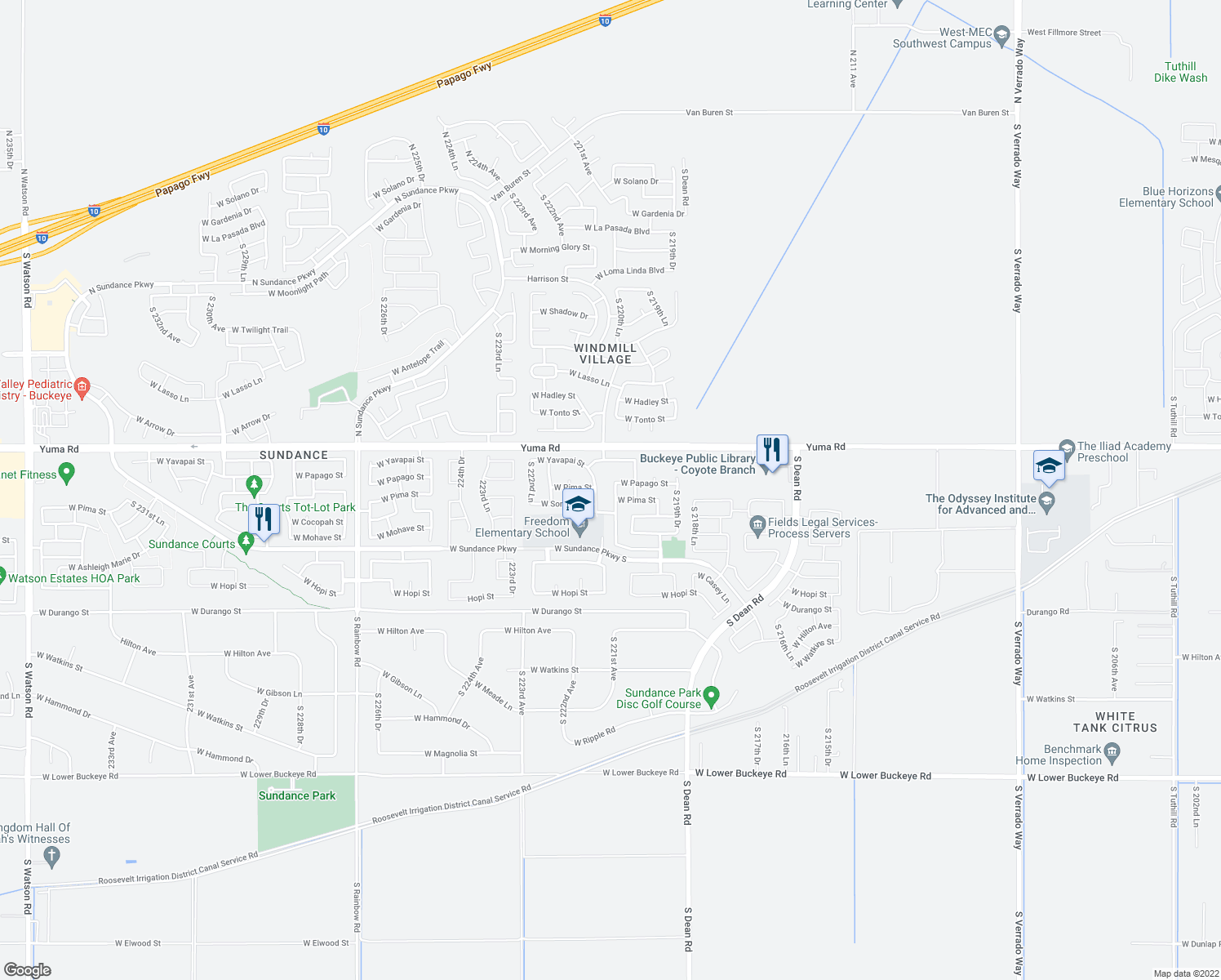 map of restaurants, bars, coffee shops, grocery stores, and more near 1416 South 220th Lane in Buckeye