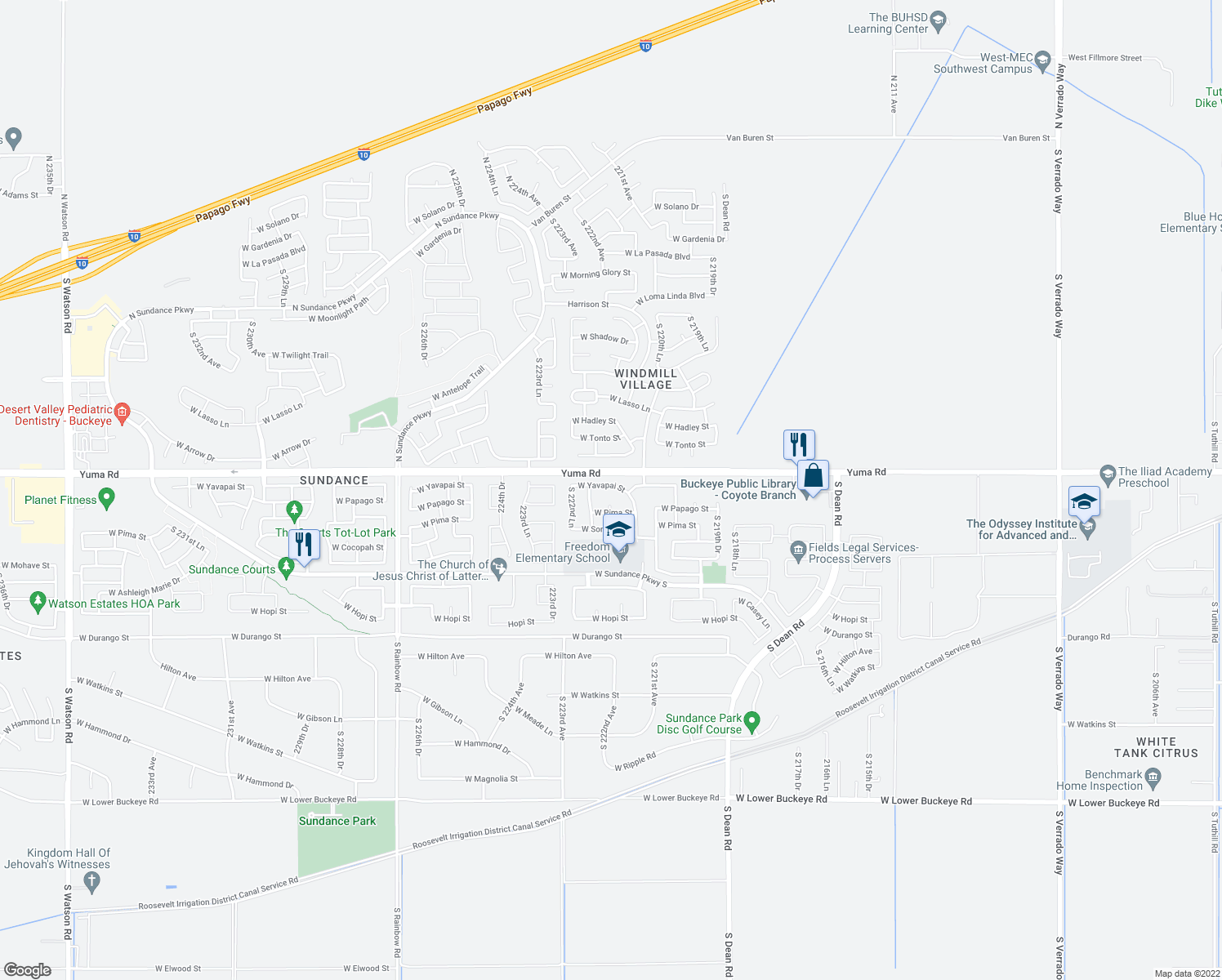 map of restaurants, bars, coffee shops, grocery stores, and more near 22215 West Yavapai Street in Buckeye