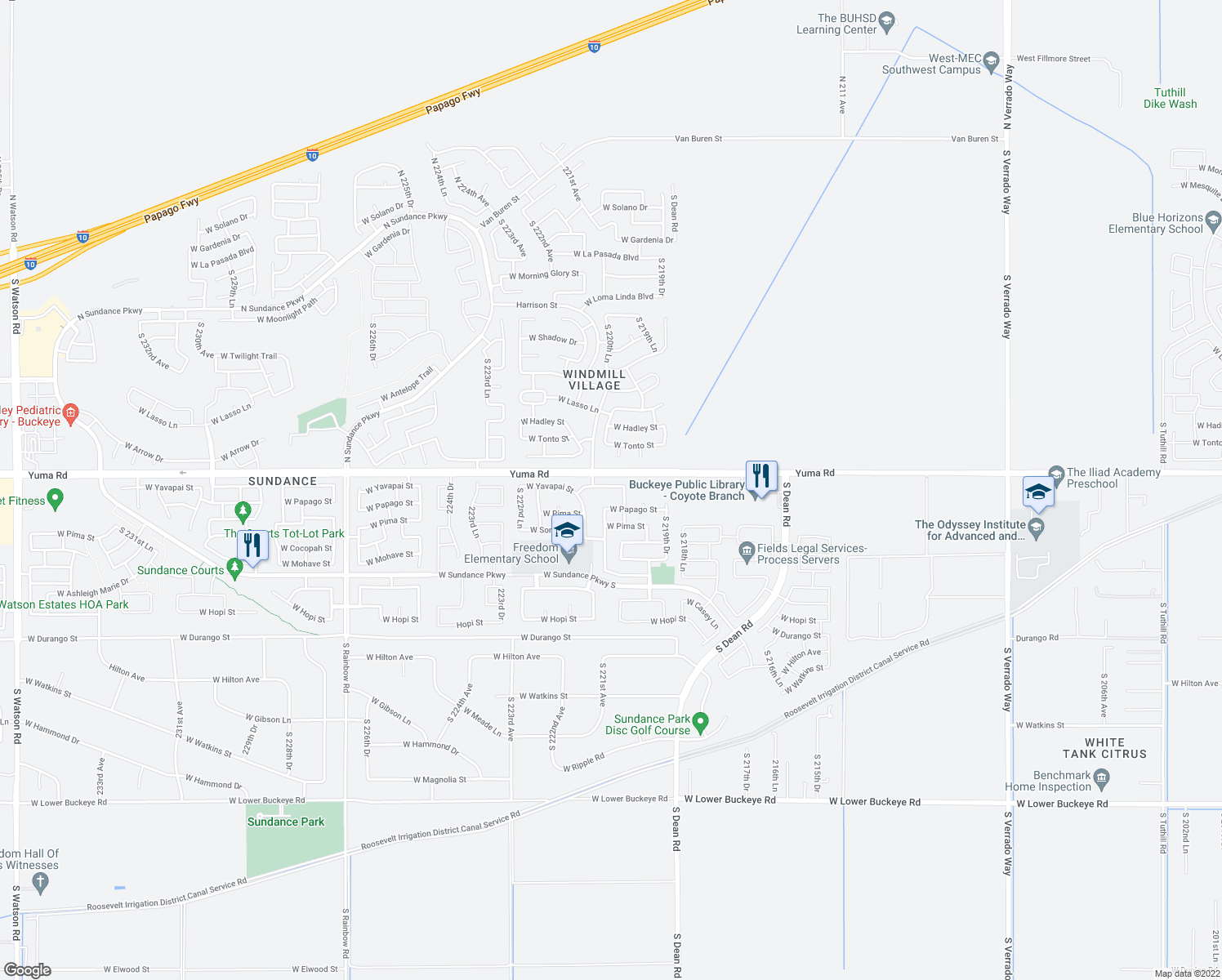 map of restaurants, bars, coffee shops, grocery stores, and more near 22065 West Yavapai Street in Buckeye