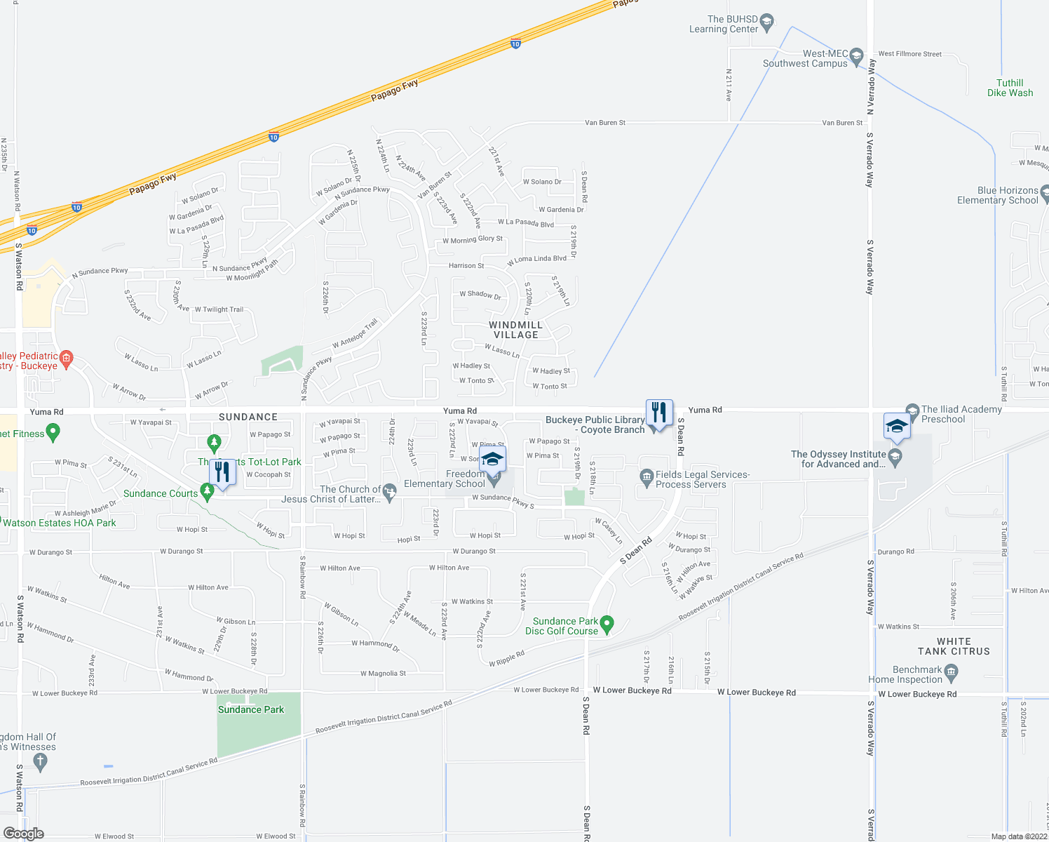 map of restaurants, bars, coffee shops, grocery stores, and more near 22081 West Yavapai Street in Buckeye