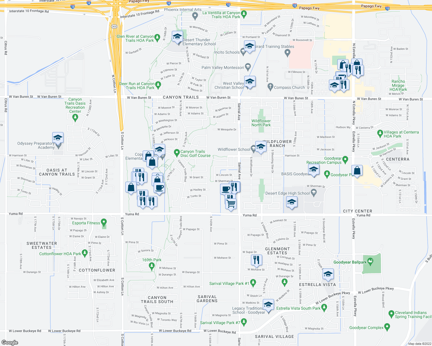 map of restaurants, bars, coffee shops, grocery stores, and more near 617 South 165th Avenue in Goodyear