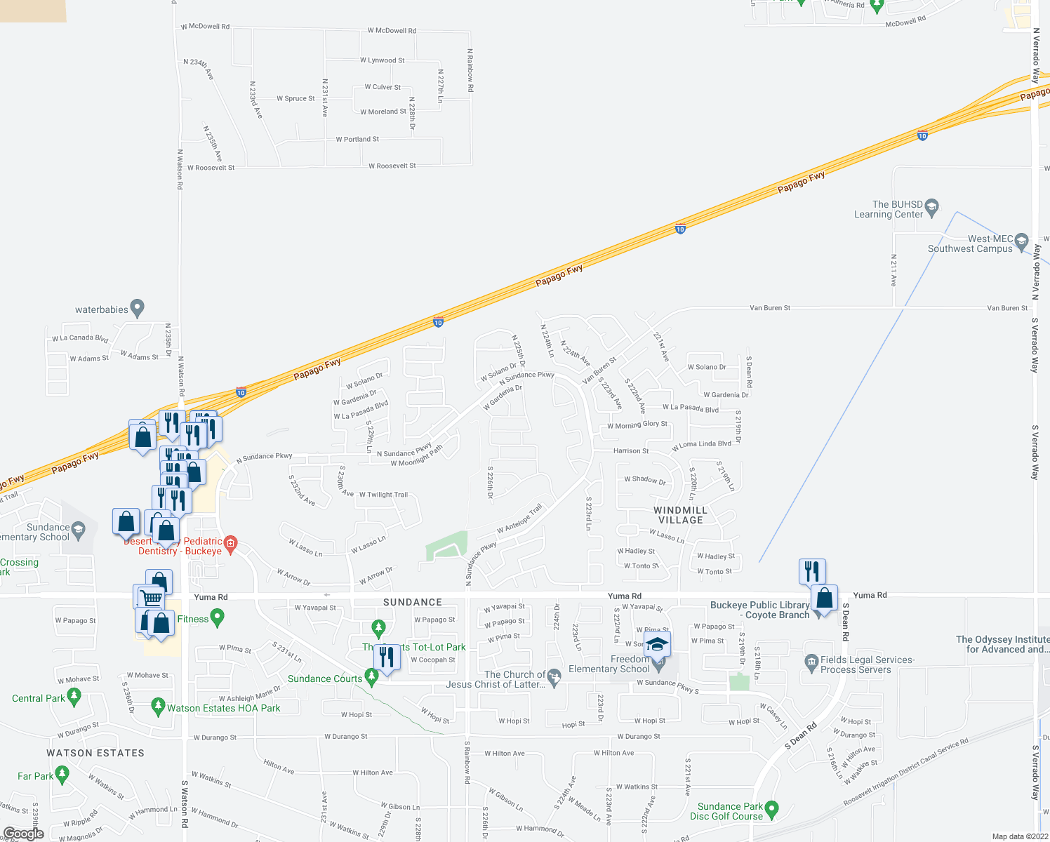 map of restaurants, bars, coffee shops, grocery stores, and more near 22557 West La Pasada Boulevard in Buckeye