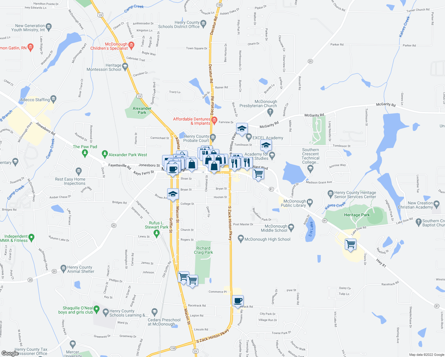 map of restaurants, bars, coffee shops, grocery stores, and more near 230 Bryan Street in McDonough