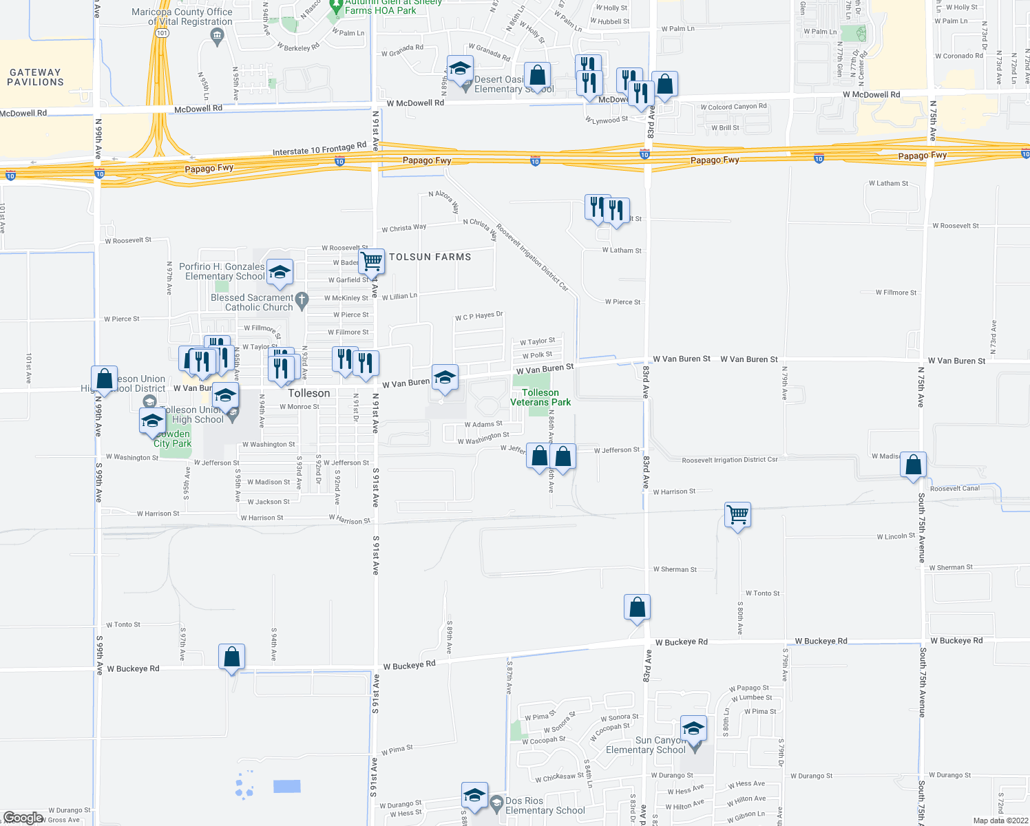 map of restaurants, bars, coffee shops, grocery stores, and more near 109 North 87th Avenue in Tolleson