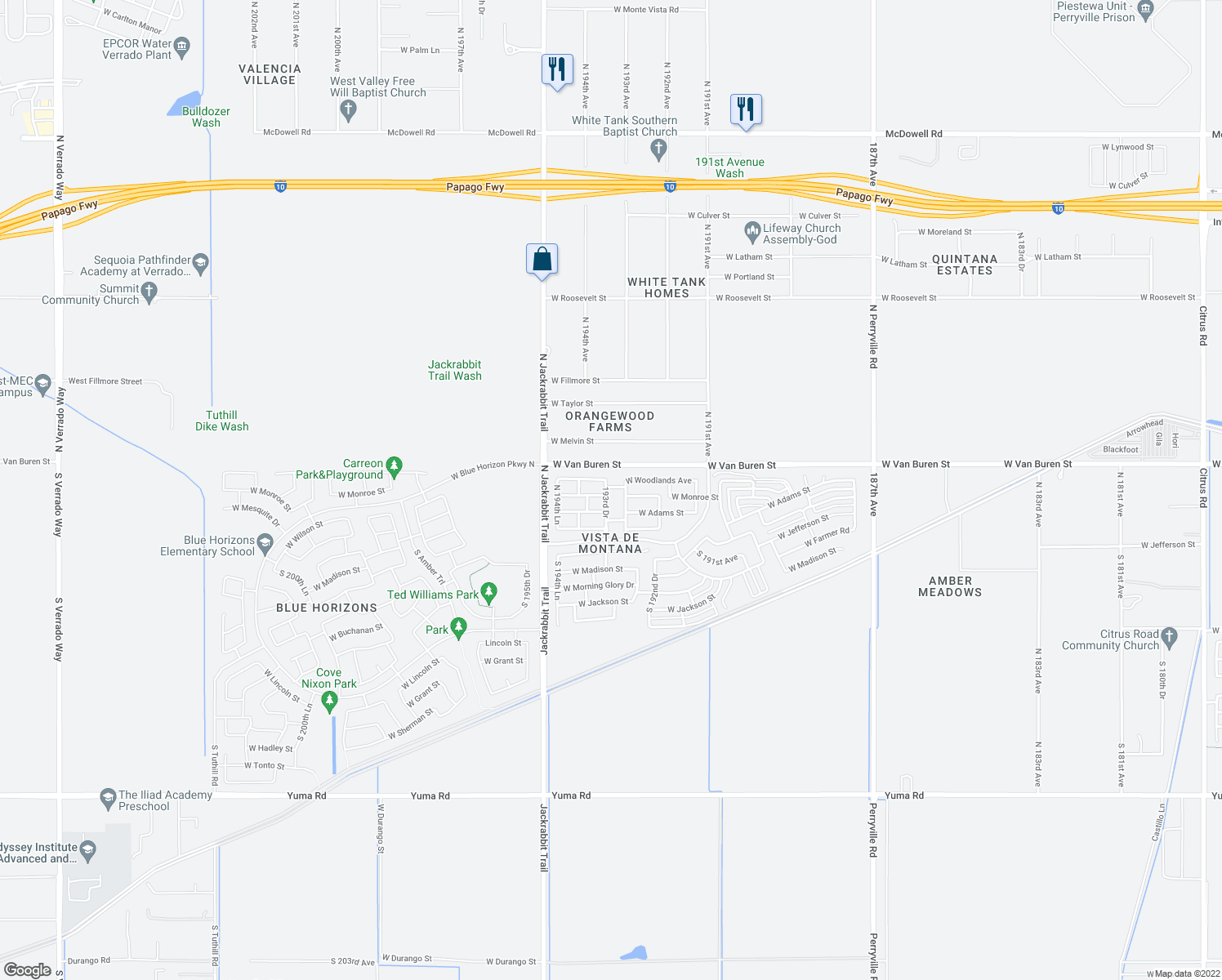 map of restaurants, bars, coffee shops, grocery stores, and more near 167 North 193rd Drive in Buckeye