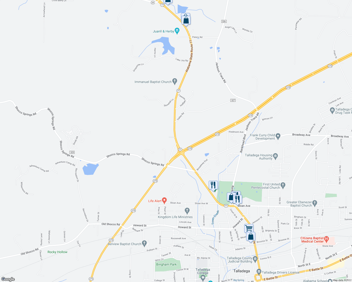 map of restaurants, bars, coffee shops, grocery stores, and more near 65983-65995 Alabama 77 in Talladega