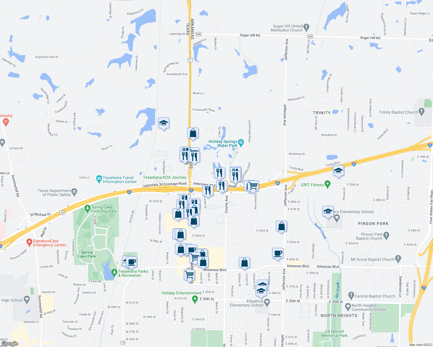 map of restaurants, bars, coffee shops, grocery stores, and more near 333 Links Drive in Texarkana