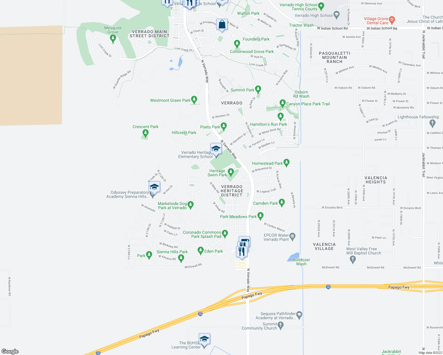 map of restaurants, bars, coffee shops, grocery stores, and more near 2610 North Heritage Street in Buckeye
