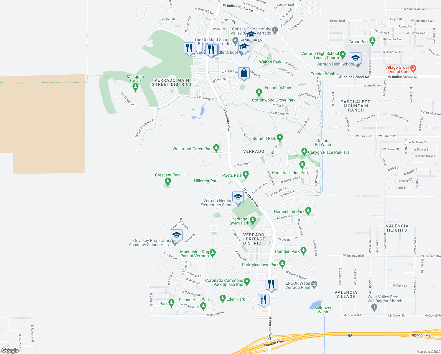 map of restaurants, bars, coffee shops, grocery stores, and more near 21000 West Eastview Way in Buckeye